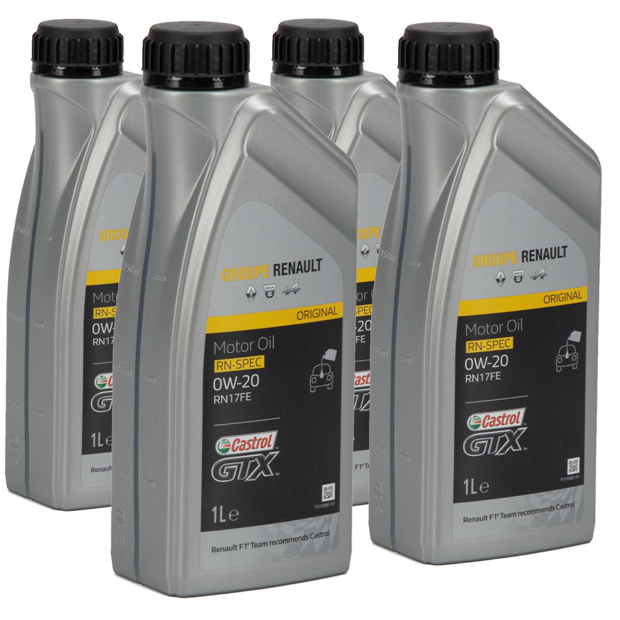 CASTROL Motoröl Öl GTX RN-SPEC 0W-20 0W20 für Renault RN17FE - 4L 4 Liter