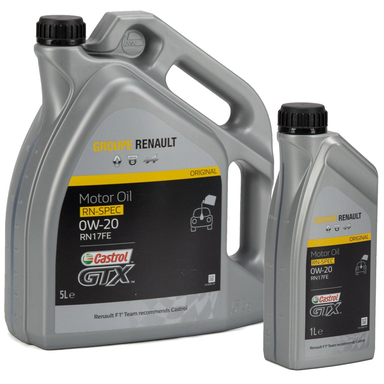 CASTROL Motoröl Öl GTX RN-SPEC 0W-20 0W20 für Renault RN17FE - 6L 6 Liter
