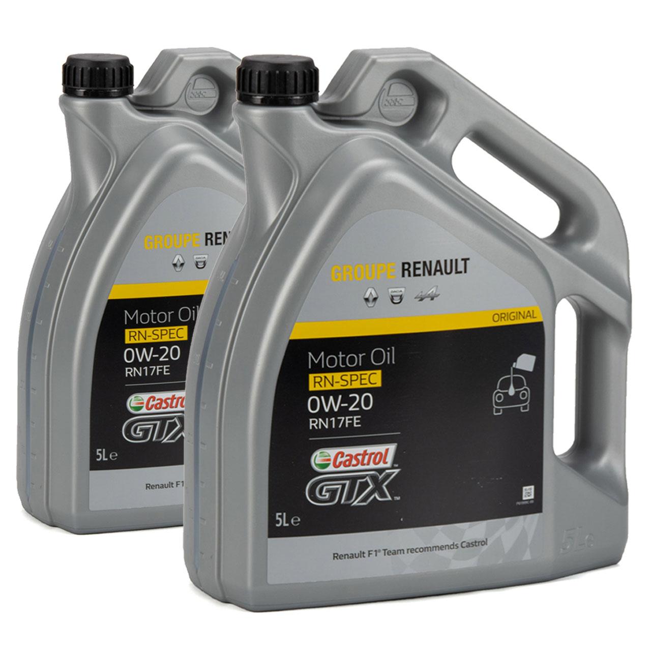 CASTROL Motoröl Öl GTX RN-SPEC 0W-20 0W20 für Renault RN17FE - 10L 10 Liter
