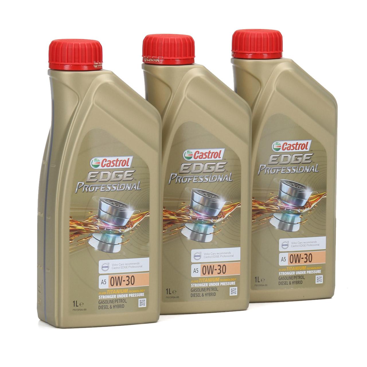 CASTROL EDGE Professional Motoröl Öl TITANIUM FST A5 0W-30 0W30 VOLVO 3 Liter