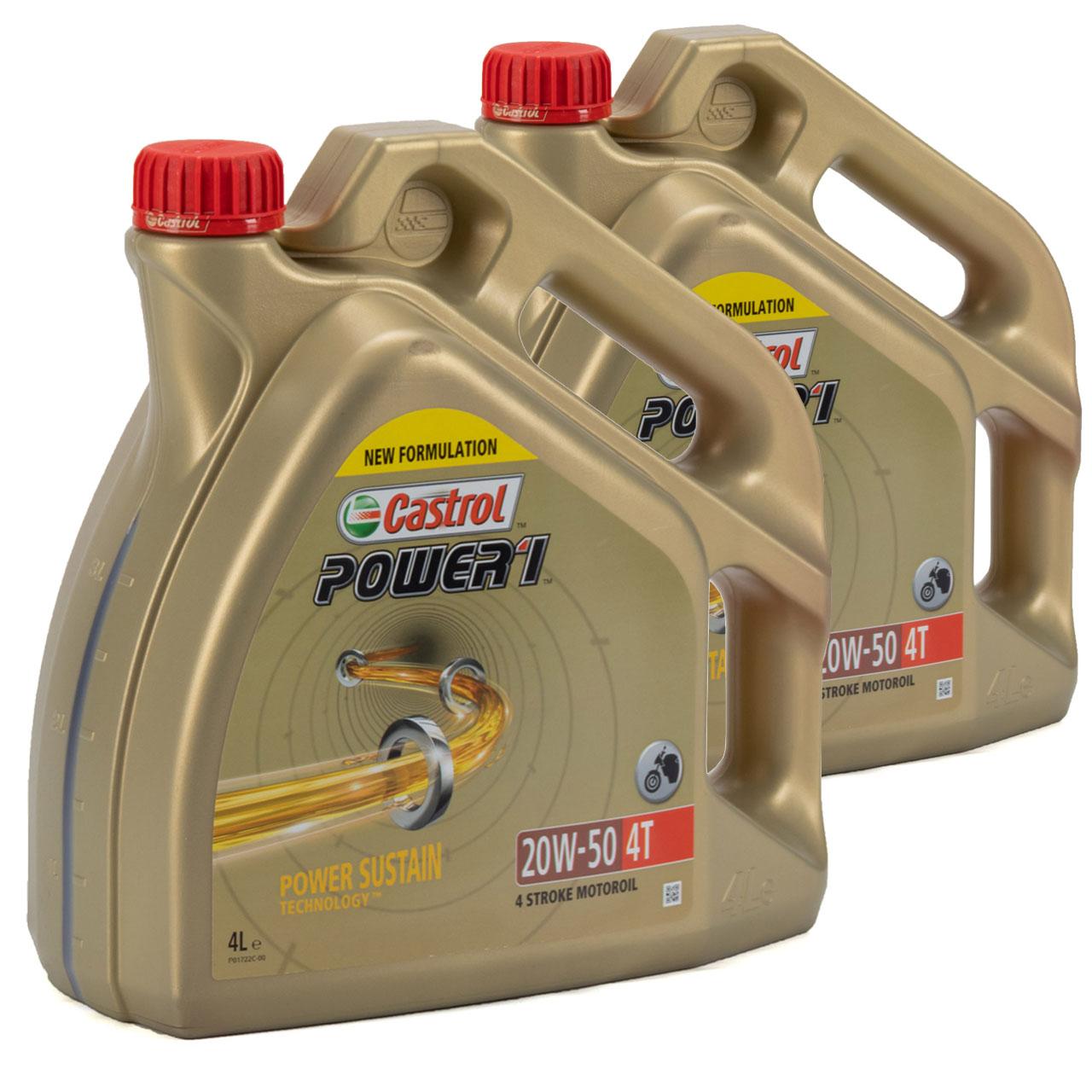 CASTROL Motoröl Öl POWER 1 20W-50 4T 4-TAKT Motorrad API SN JASO MA-2 - 8 Liter
