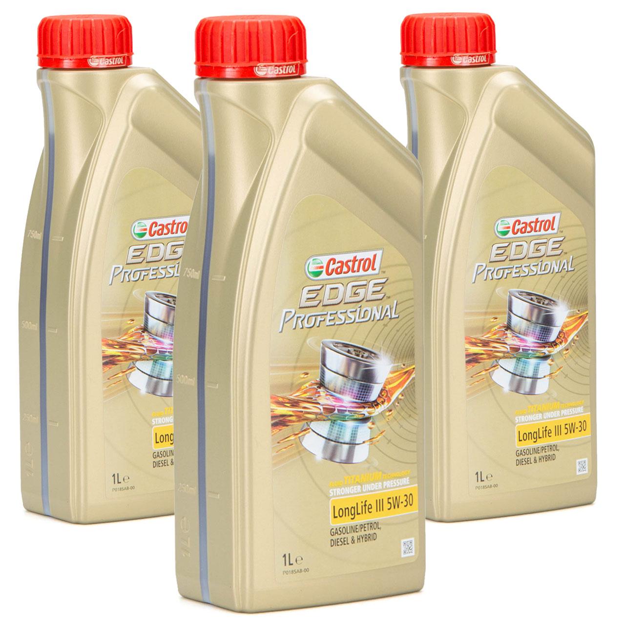 CASTROL EDGE Professional Motoröl Öl TITANIUM LongLife III 5W-30 5W30 - 3 Liter