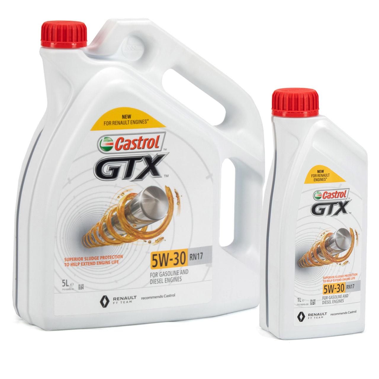 CASTROL Motoröl Öl GTX 5W-30 5W30 RN17 ACEA C3 für Renault - 6L 6 Liter