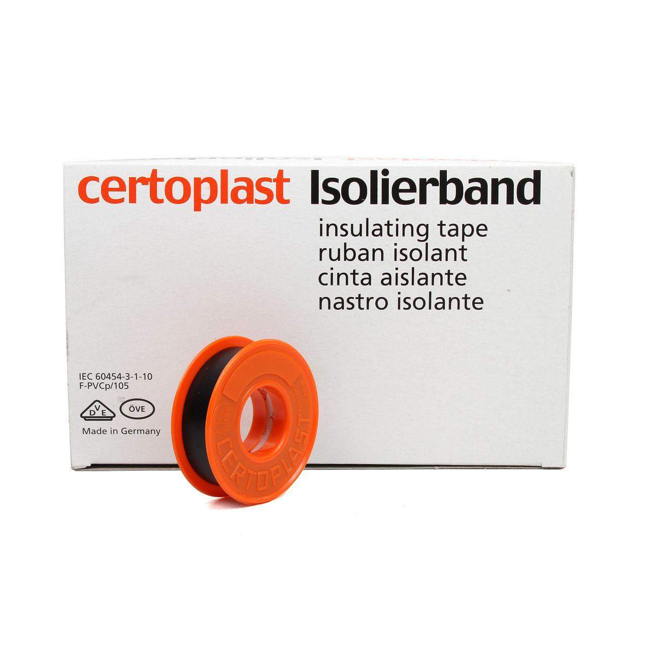 CERTOPLAST Isolierband Klebeband SCHWARZ 15mm x 10m 14.6010.0069
