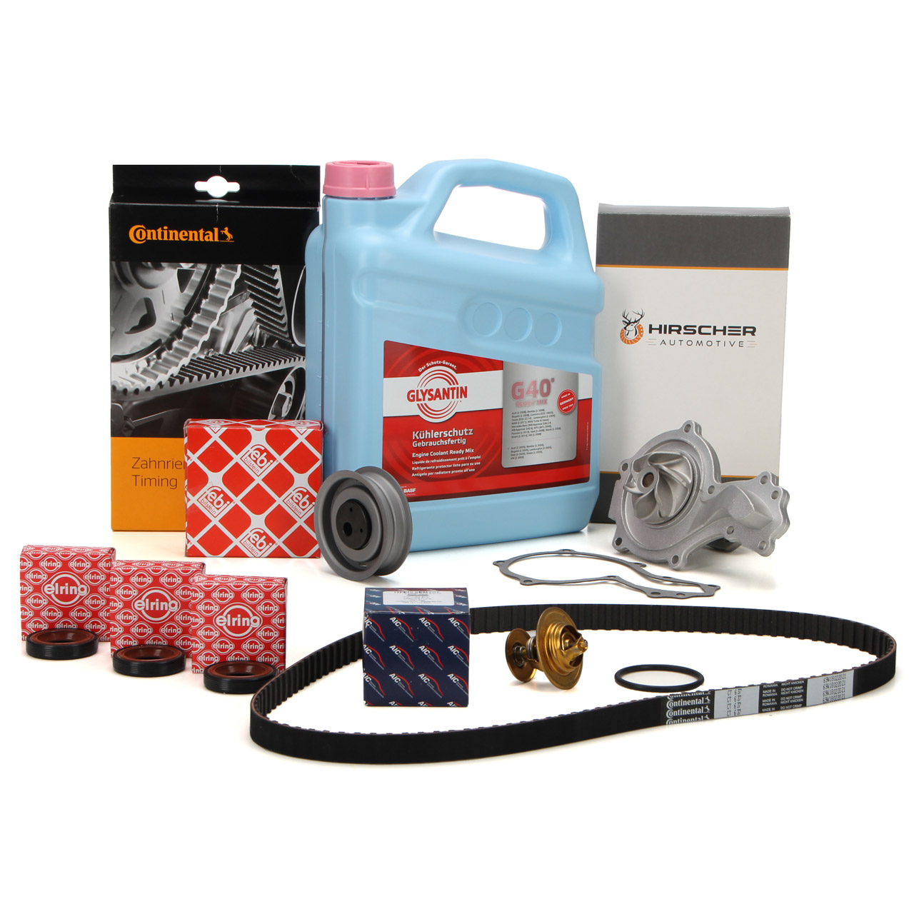 CONTI Zahnriemen Spannrolle Thermostat HIRSCHER Wasserpumpe Frostschutz VW Golf 1 2 3