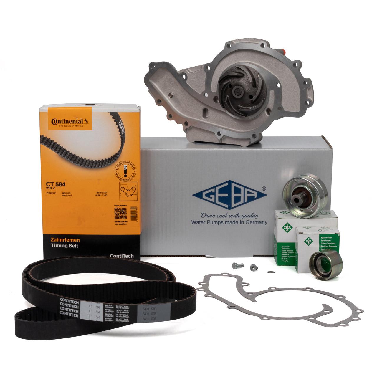 CONTI Zahnriemen + INA Rollen + GEBA Wasserpumpe PORSCHE 928 5.0 S / GT + 5.4 GTS