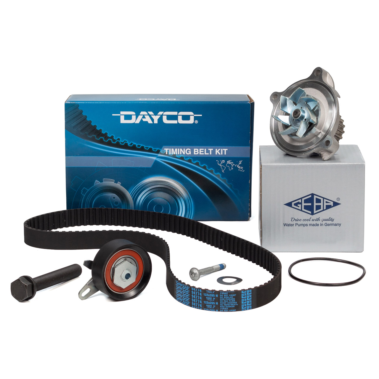 DAYCO Zahnriemensatz + GEBA Wasserpumpe AUDI A6 C4 VW LT II T4 2.4 D 2.5TDI