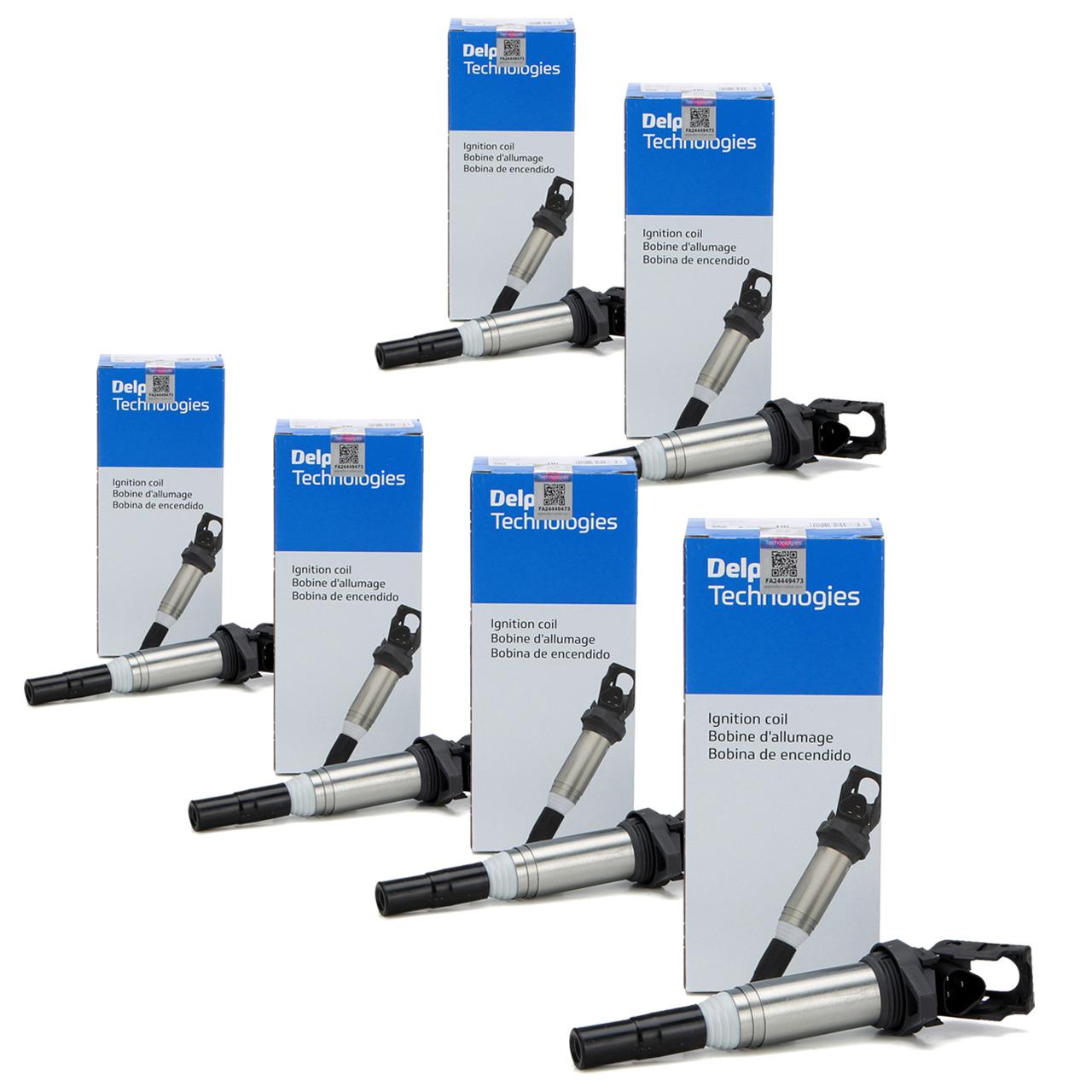 6x DELPHI GN10571-12B1 Zündspule für BMW 6 Zylinder BENZINER 12138616153