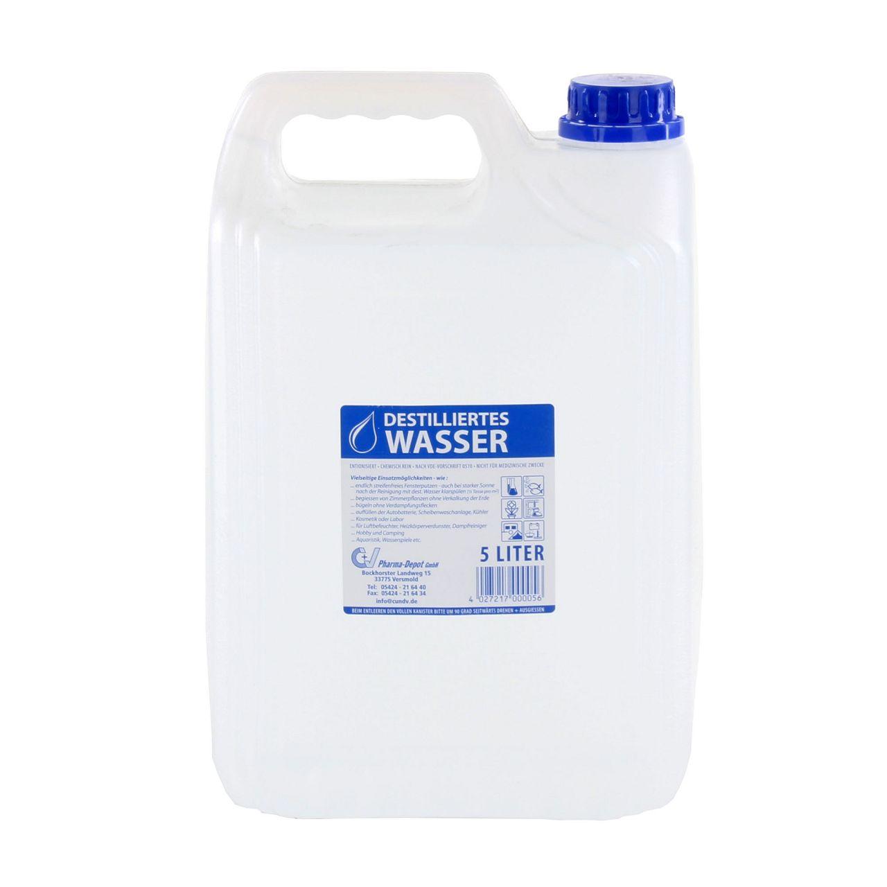 5L Destilliertes Wasser Laborwasser Bügelwasser ENTIONISIERT CHEM. REIN 5 Liter