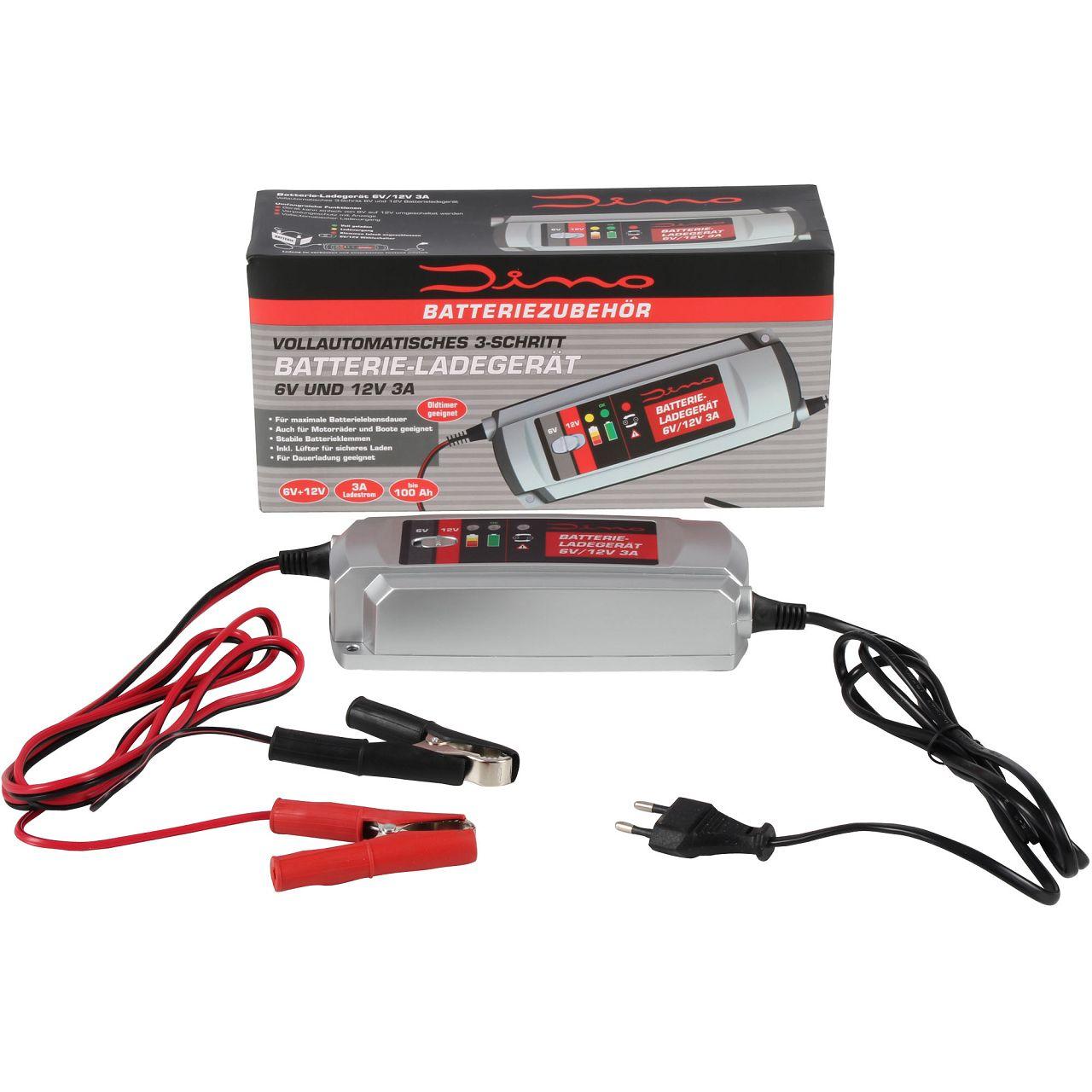 Dino KRAFTPAKET 136301 Batterieladegerät Ladegerät 6V 12V 3A KFZ Auto Motorrad