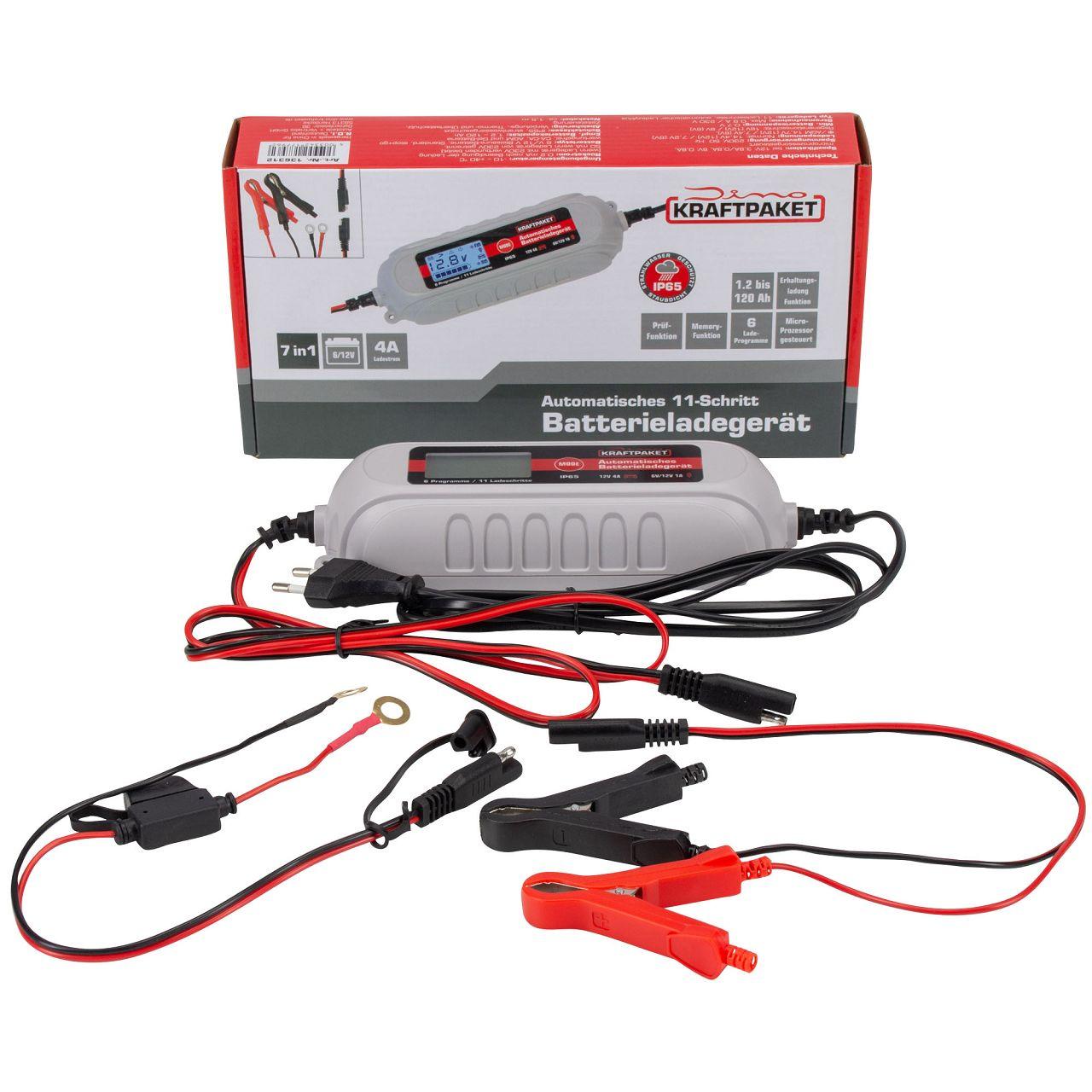 Dino KRAFTPAKET 136312 Batterieladegerät mit Batterietester KFZ 6V-1A/12V-4A