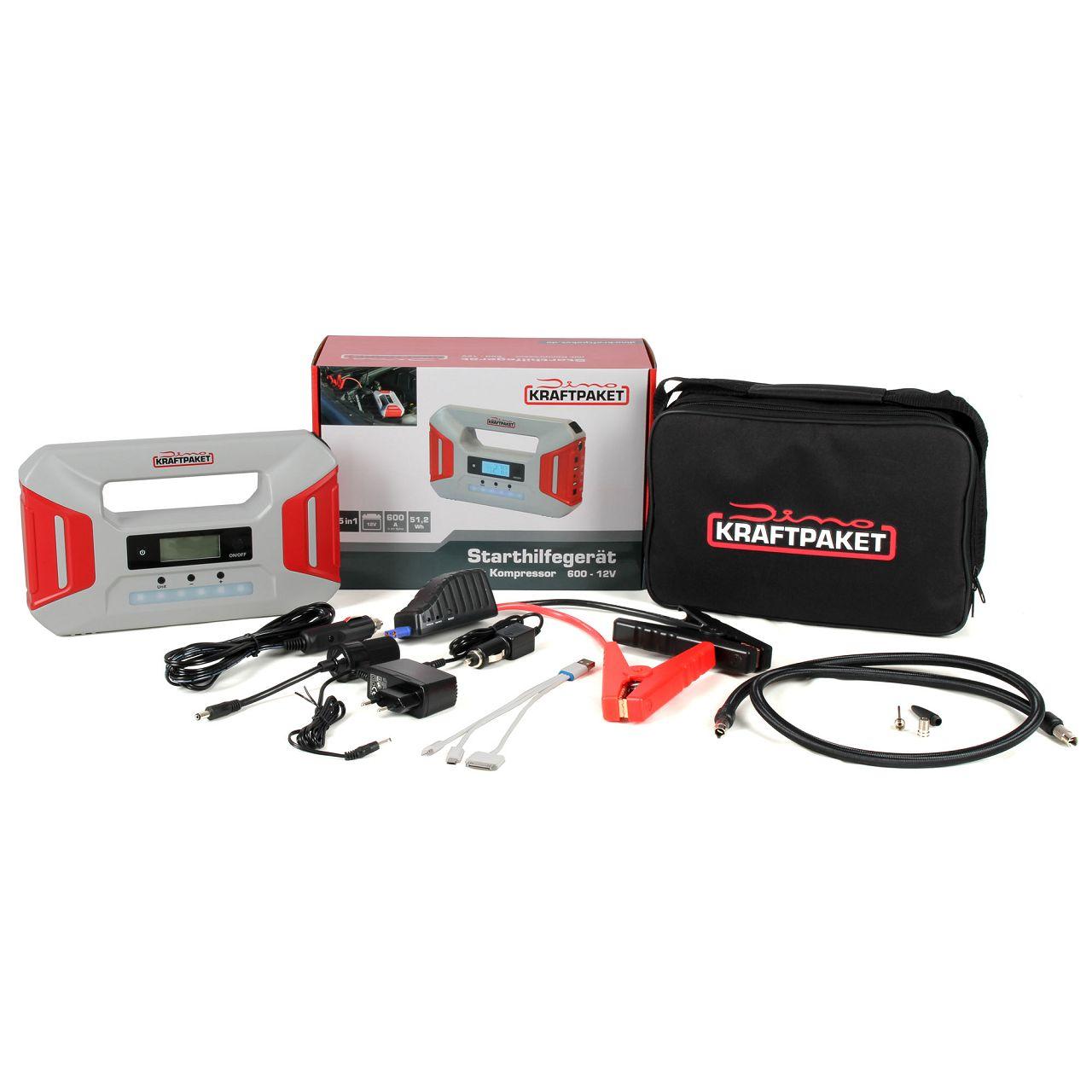 Dino KRAFTPAKET 136235 12V 5in1 Ladegerät Starthilfegerät Batterie Kompressor