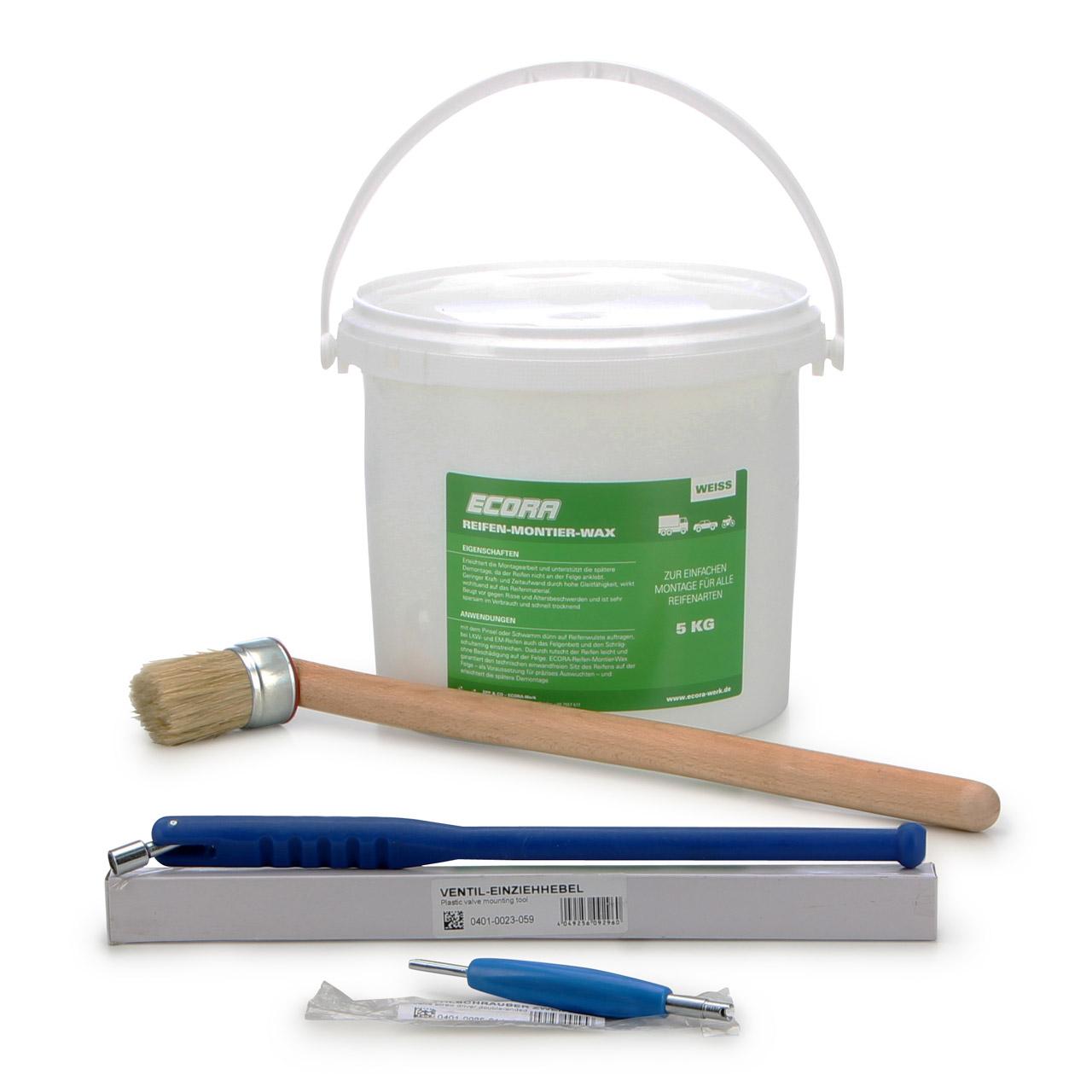 ECORA Reifenmontagepaste WEIß 5 kg + Pinsel + Ventildreher + Ventileinzieher