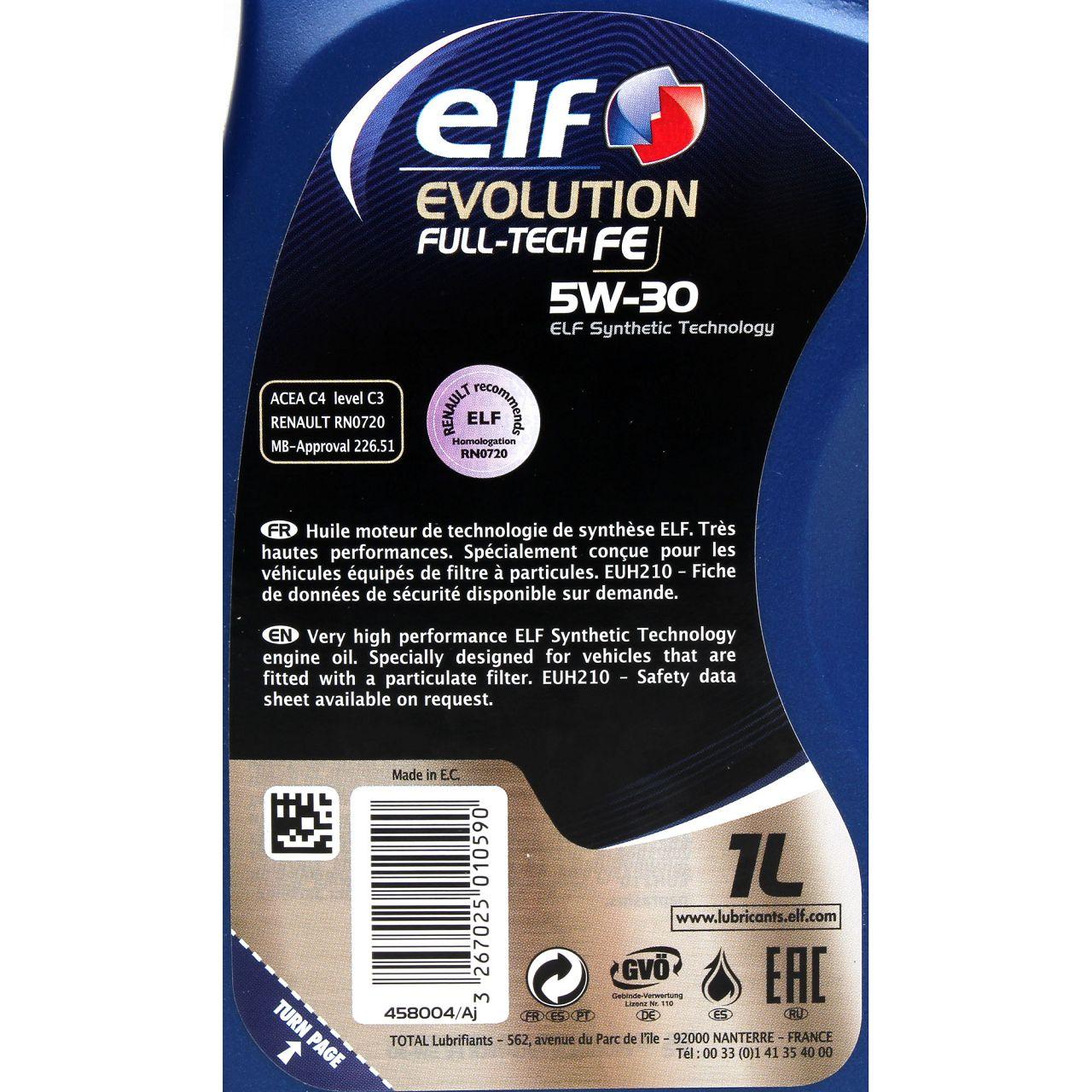 elf Evolution Full-Tech FE 5W-30 Motoröl RENAULT RN0720 MB 226.51 - 1L 1 Liter