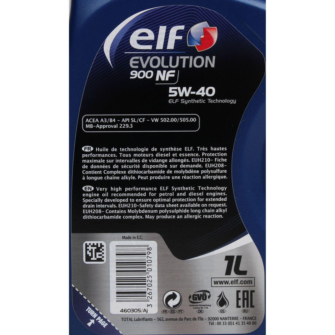 elf Evolution 900 NF 5W-40 Motoröl VW 502.00/505.00 MERCEDES 229.3 - 1L 1 Liter