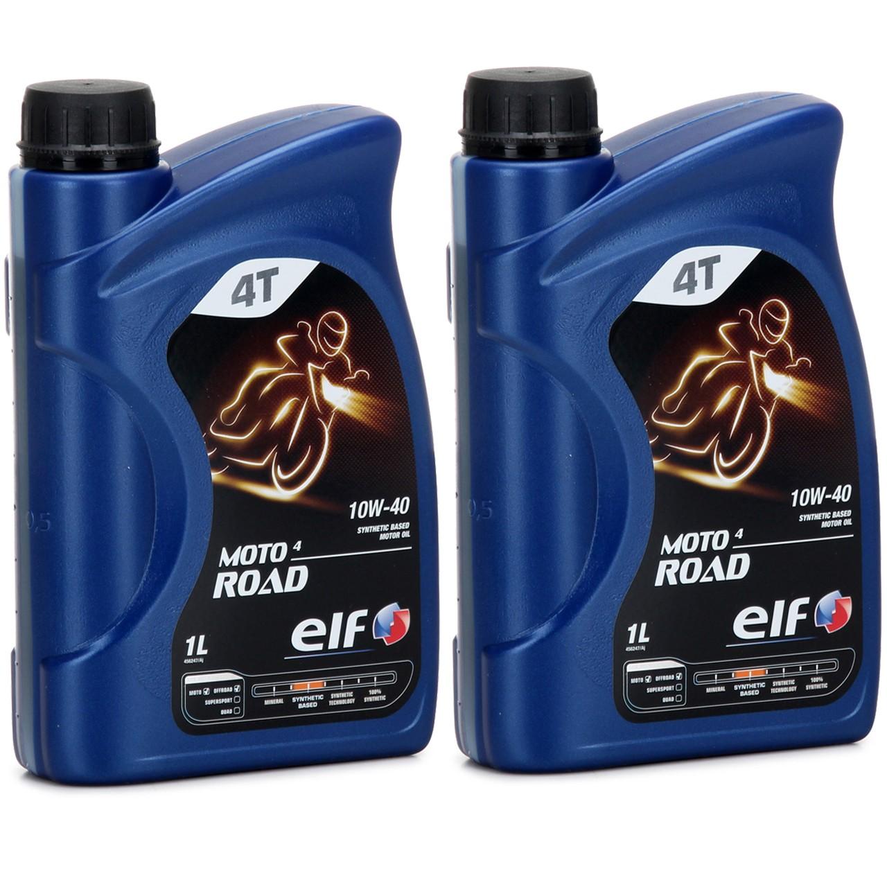 ELF Motoröl ÖL 4T 4-TAKT MOTO 4 ROAD 10W-40 10W40 JASO MA2 API SL - 2L 2 Liter