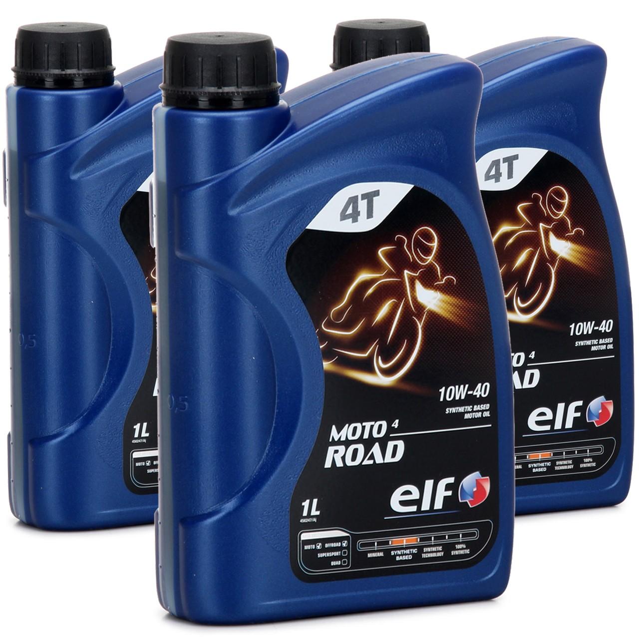 ELF Motoröl ÖL 4T 4-TAKT MOTO 4 ROAD 10W-40 10W40 JASO MA2 API SL - 3L 3 Liter