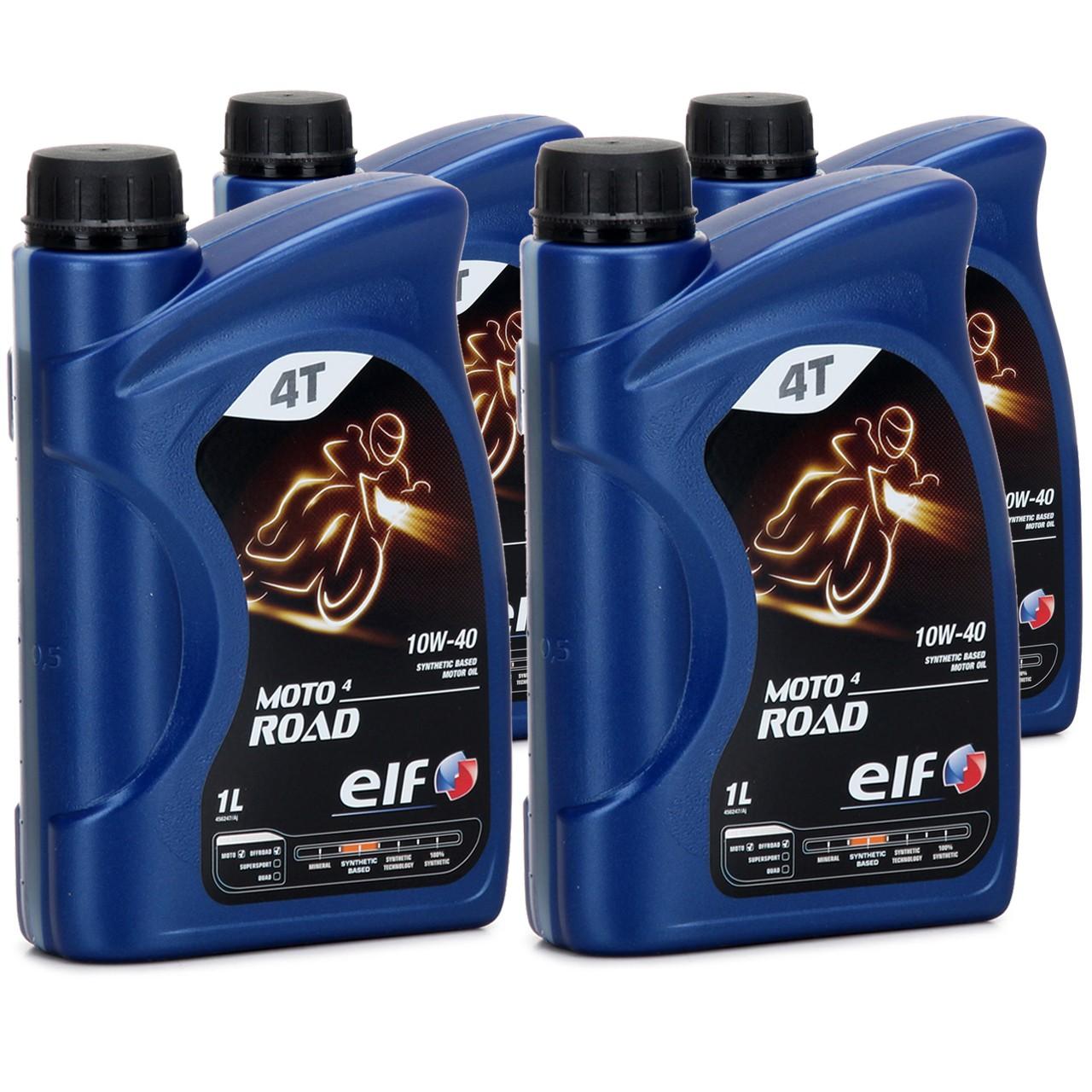 ELF Motoröl ÖL 4T 4-TAKT MOTO 4 ROAD 10W-40 10W40 JASO MA2 API SL - 4L 4 Liter