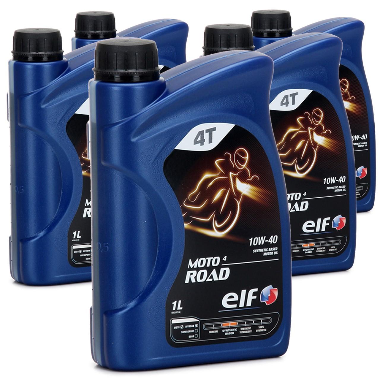 ELF Motoröl ÖL 4T 4-TAKT MOTO 4 ROAD 10W-40 10W40 JASO MA2 API SL - 5L 5 Liter