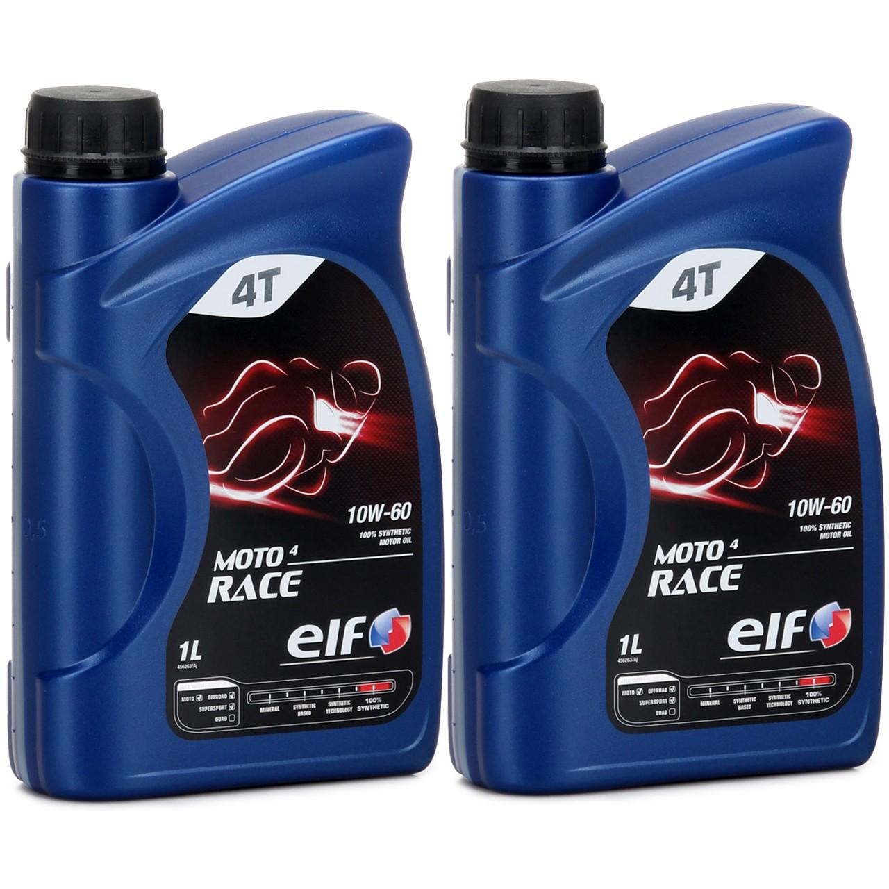 ELF Motoröl ÖL 4T 4-TAKT MOTO 4 RACE 10W-60 10W60 API SN JASO MA2 - 2L 2 Liter