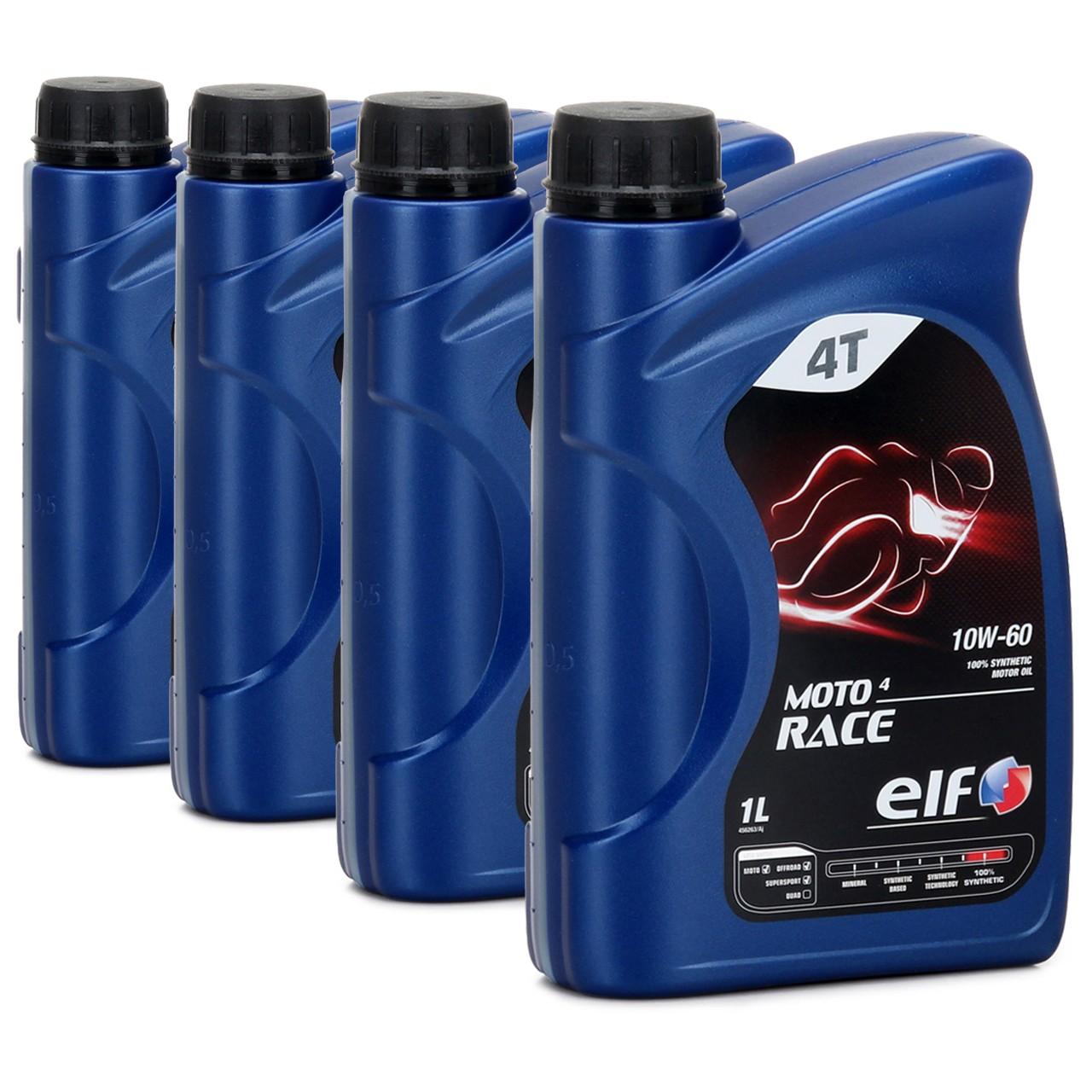 ELF Motoröl ÖL 4T 4-TAKT MOTO 4 RACE 10W-60 10W60 API SN JASO MA2 - 4L 4 Liter