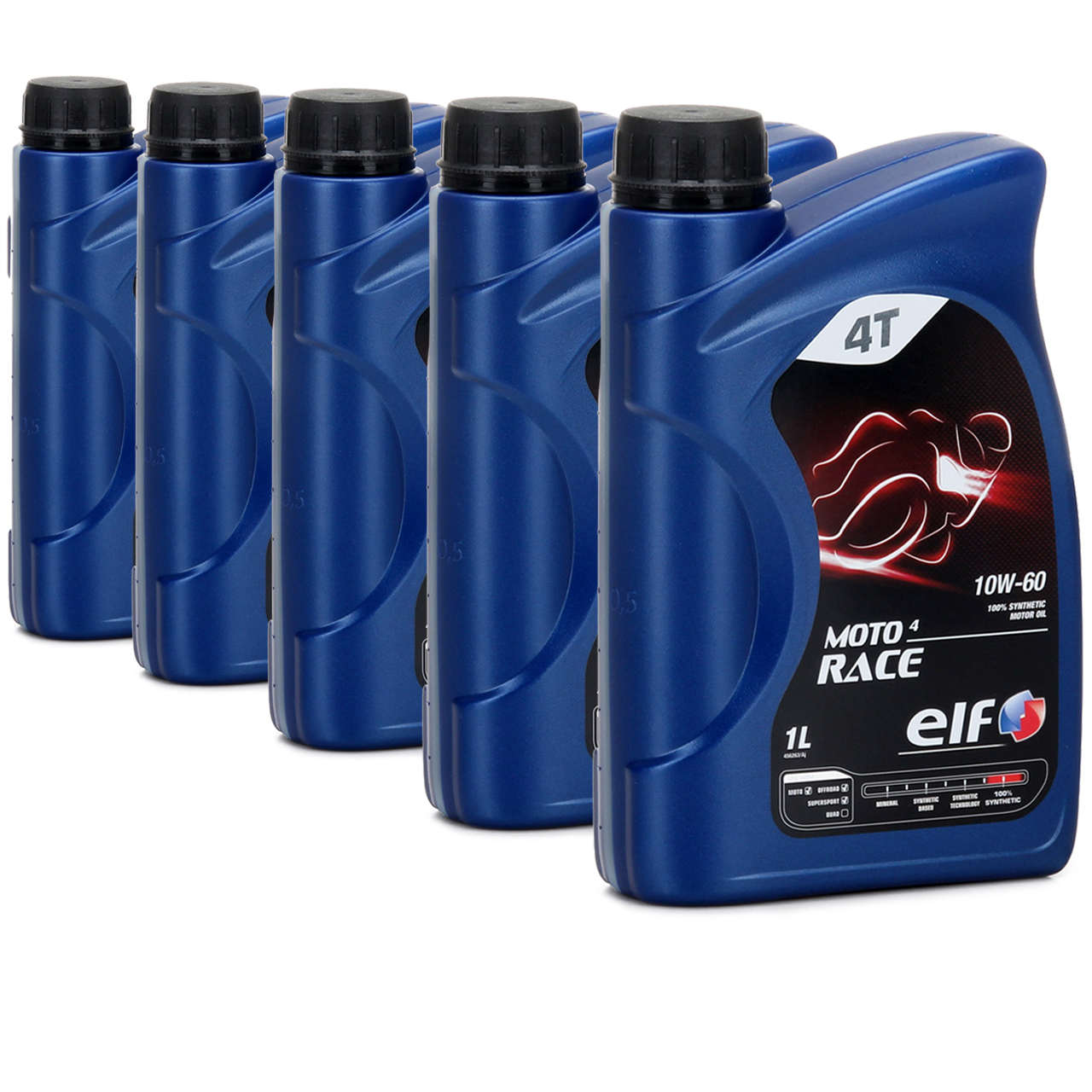 ELF Motoröl ÖL 4T 4-TAKT MOTO 4 RACE 10W-60 10W60 API SN JASO MA2 - 5L 5 Liter