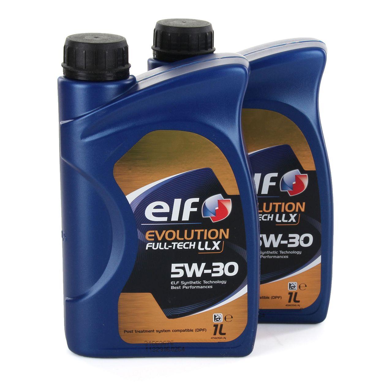 2x 1L 1 Liter elf Evolution Full-Tech LLX 5W-30 Motoröl 504.00/507.00 MB 226.51