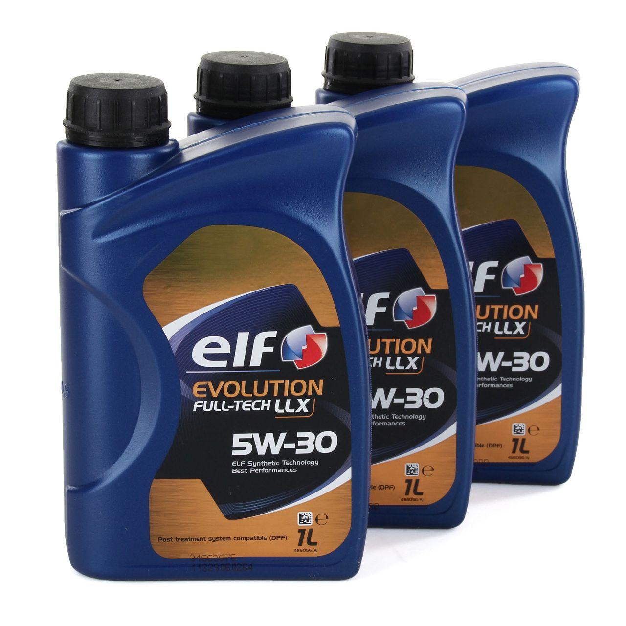 3x 1L 1 Liter elf Evolution Full-Tech LLX 5W-30 Motoröl 504.00/507.00 MB 226.51