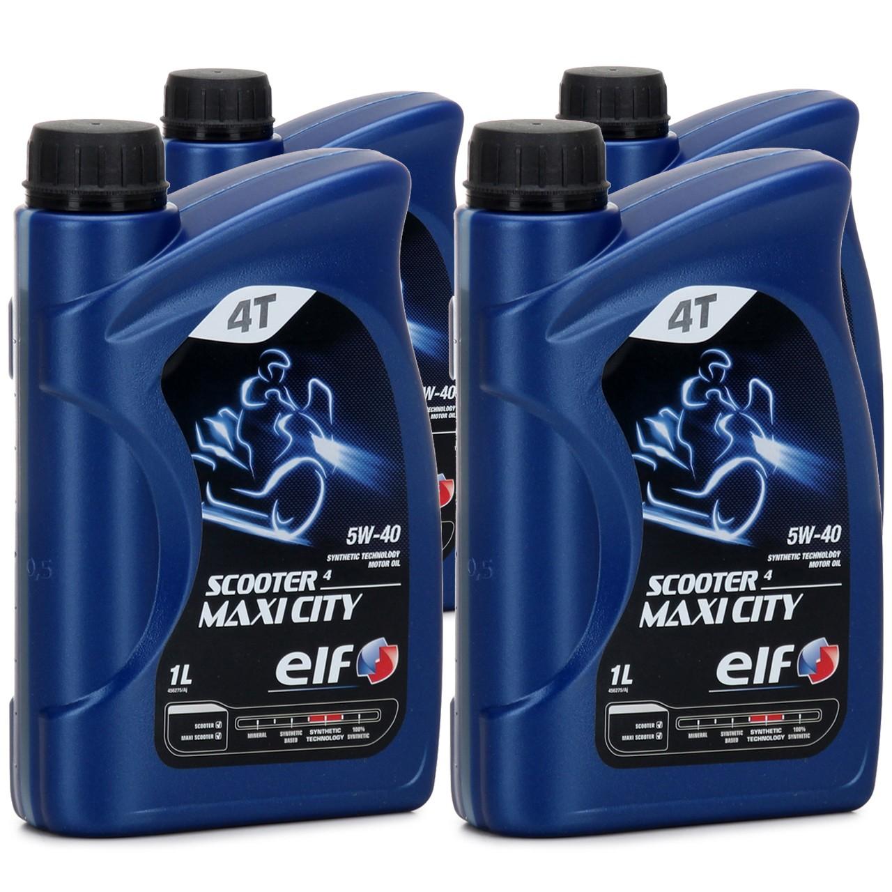 ELF Motoröl ÖL 4T 4-TAKT SCOOTER 4 MAXI CITY 5W-40 5W40 API SL - 4L 4 Liter