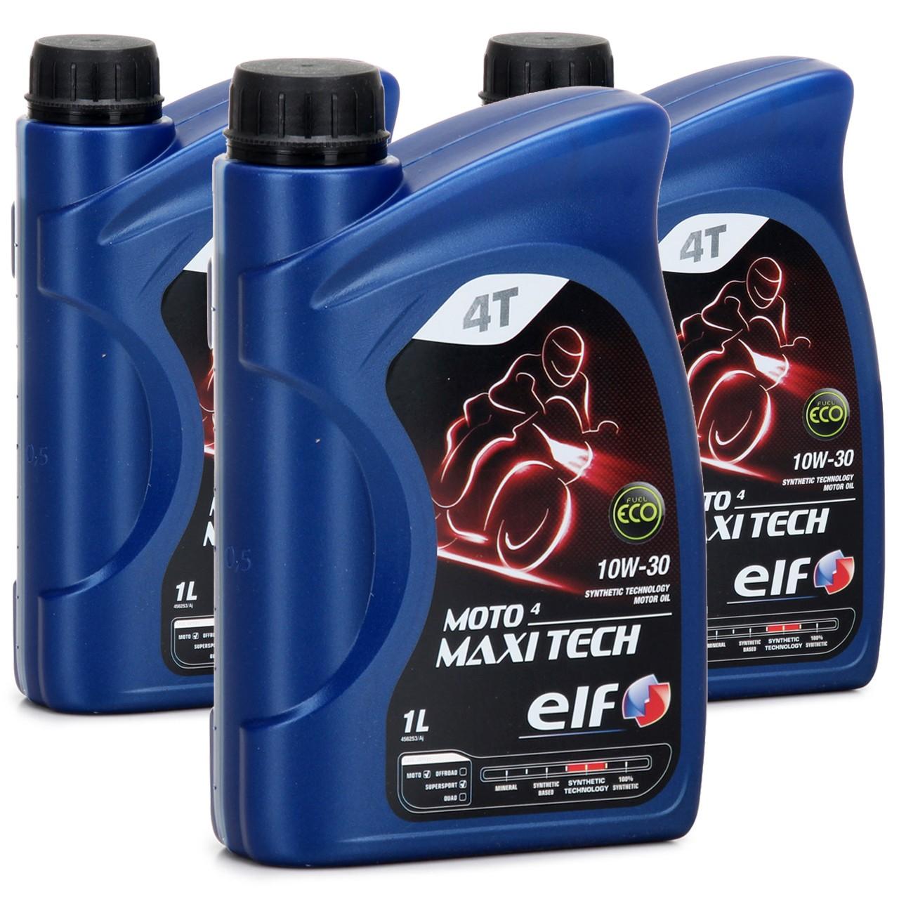 ELF Motoröl ÖL 4T 4-TAKT MOTO 4 MAXITECH 10W30 JASO MA API SJ - 3L 3 Liter