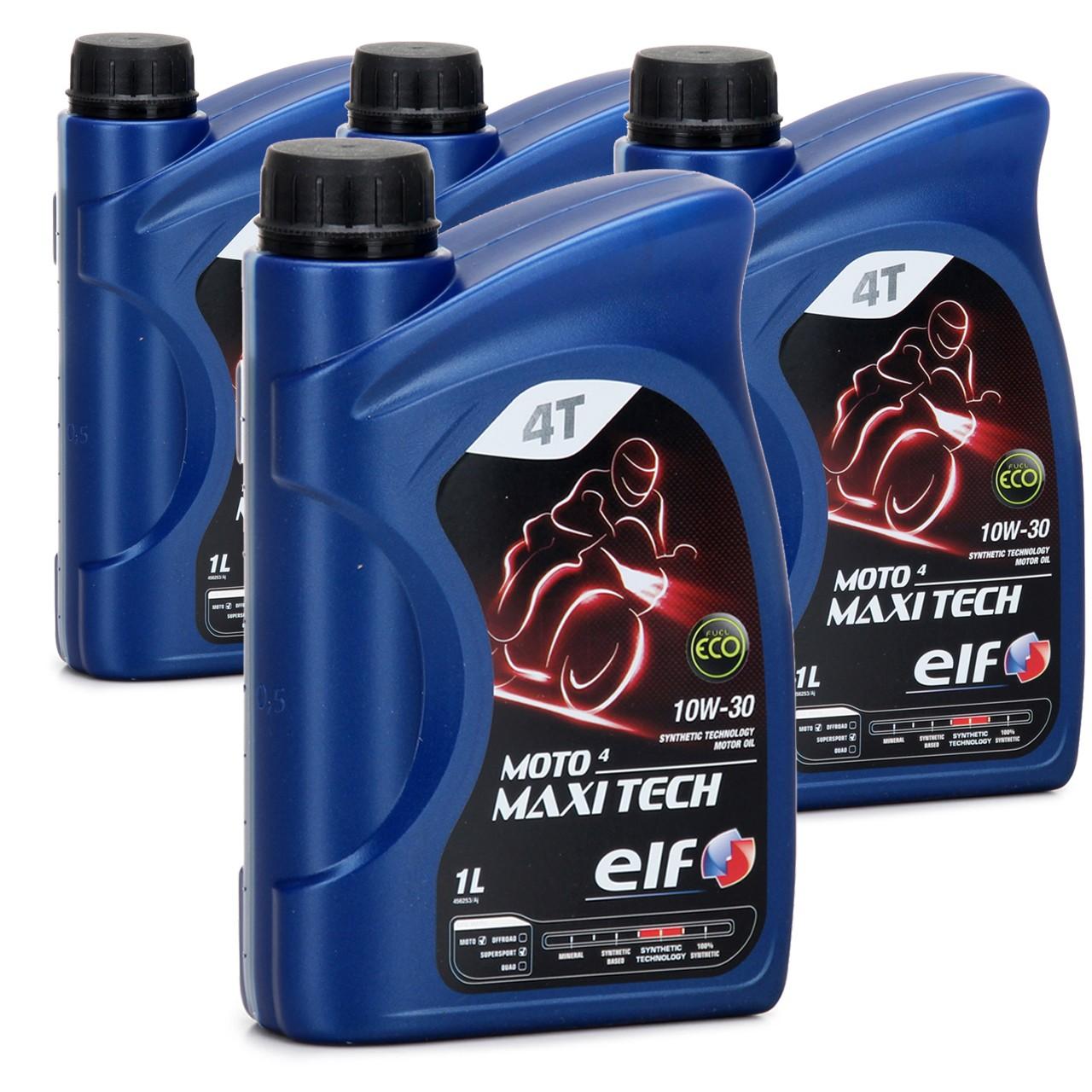 ELF Motoröl ÖL 4T 4-TAKT MOTO 4 MAXITECH 10W30 JASO MA API SJ - 4L 4 Liter