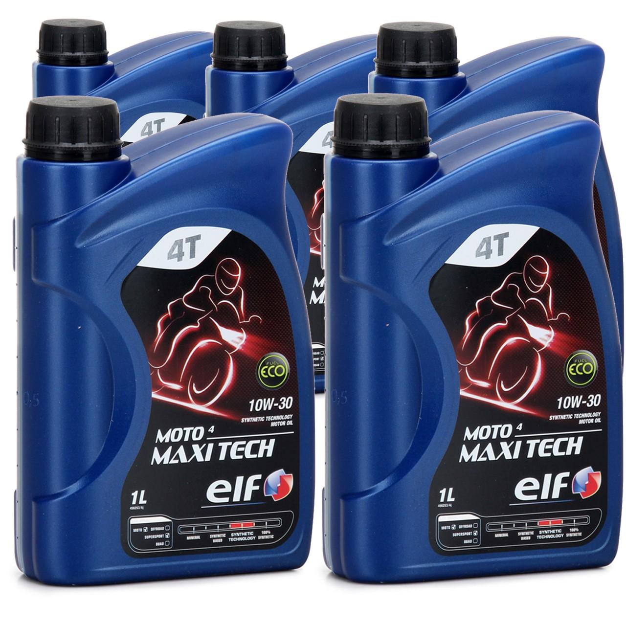 ELF Motoröl ÖL 4T 4-TAKT MOTO 4 MAXITECH 10W30 JASO MA API SJ - 5L 5 Liter