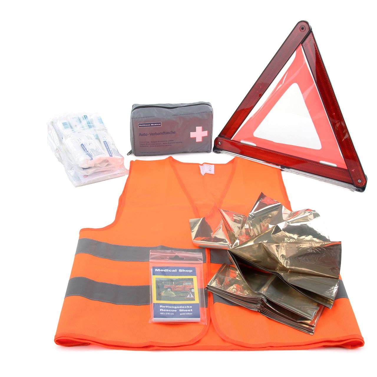 Verbandkasten MHD 11.2024 + Warndreieck + Rettungsdecke + Warnweste Erste Hilfe Set