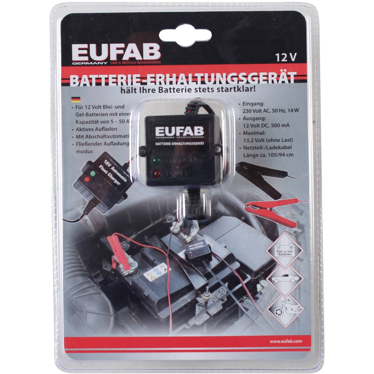 EUFAB 16505 Batterie-Erhaltungsgerät Automatikladegerät 12V 500mA