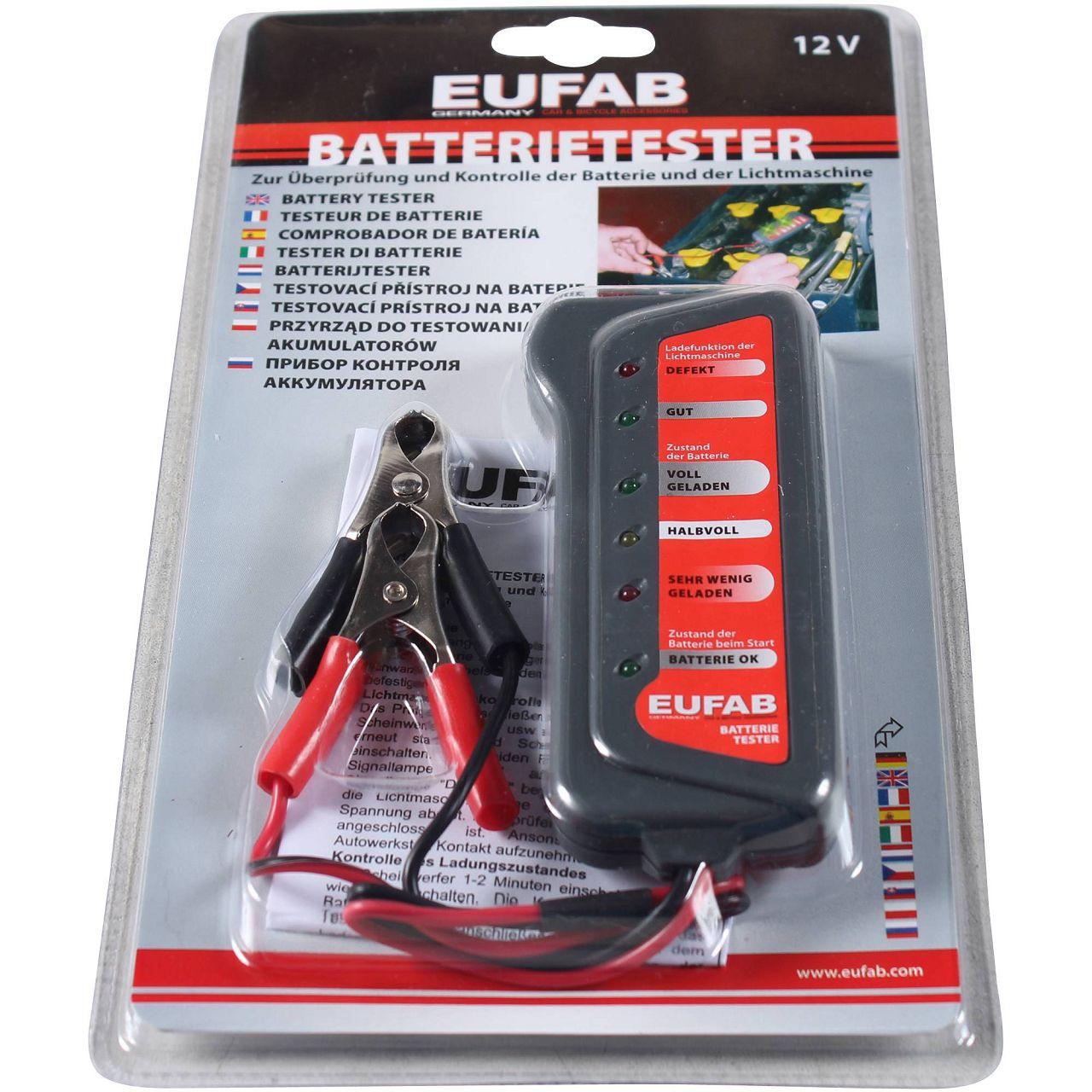 EUFAB 16599 Batterie-Tester Analyzer KFZ Batterieprüfgerät Batterietester