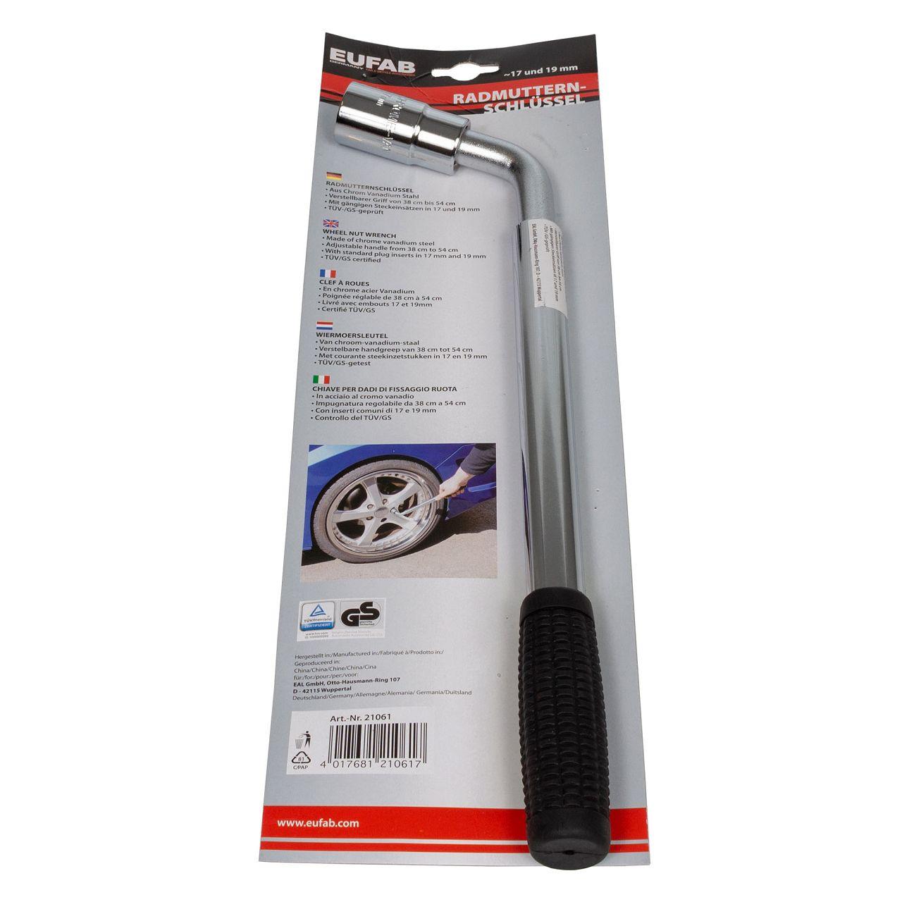 EUFAB Radmutternschlüssel 17mm & 19mm ausziehbar 38-54cm Chrom Vanadium Stahl