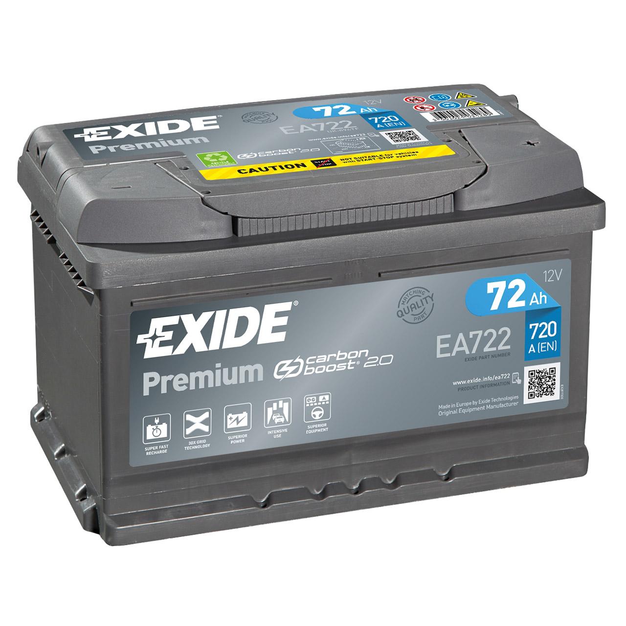 EXIDE EA722 PREMIUM Autobatterie Batterie Starterbatterie 12V 72Ah EN720A