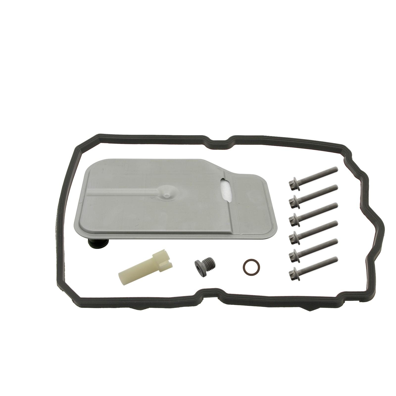 FEBI Hydraulikfilter Satz + Überlaufrohr + 7L Getriebeöl MERCEDES 7-Gang 722.9