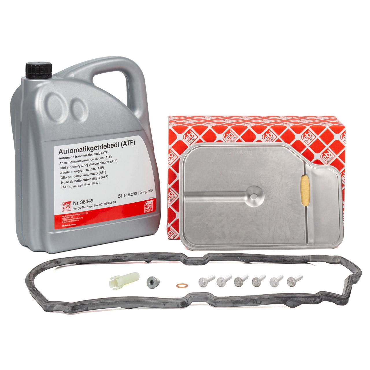 FEBI Hydraulikfilter Satz + Überlaufrohr + 5L Getriebeöl MERCEDES 7-Gang 722.9