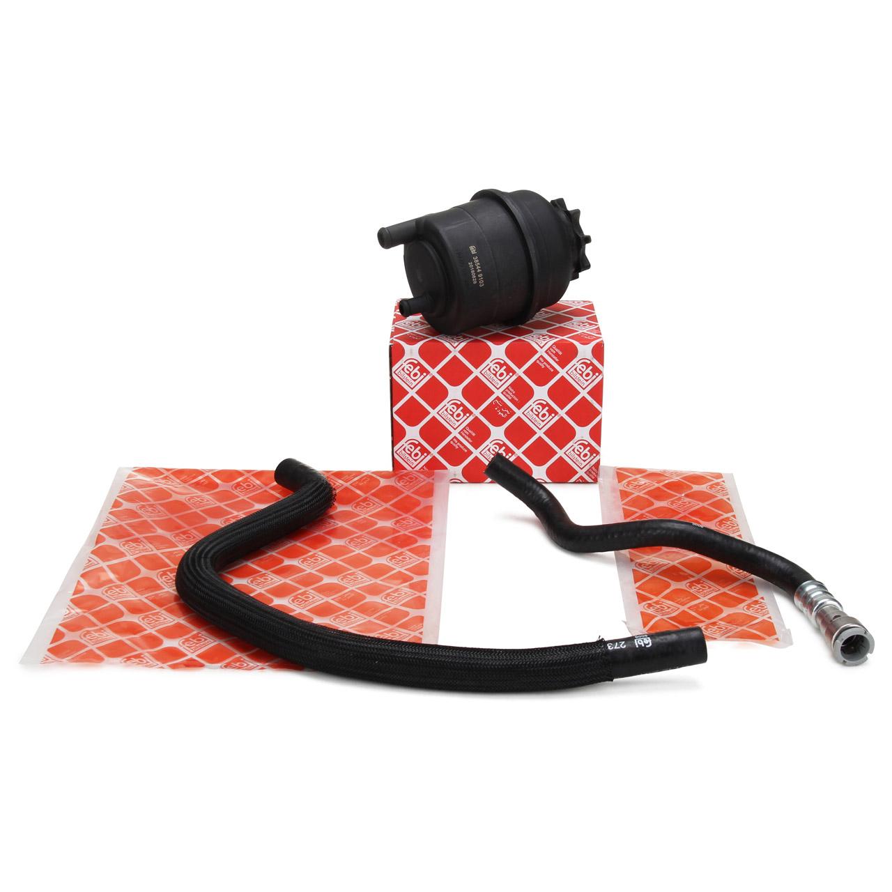 FEBI Ausgleichsbehälter + 2x Hydraulikschlauch Servolenkung für BMW E46 320-330i
