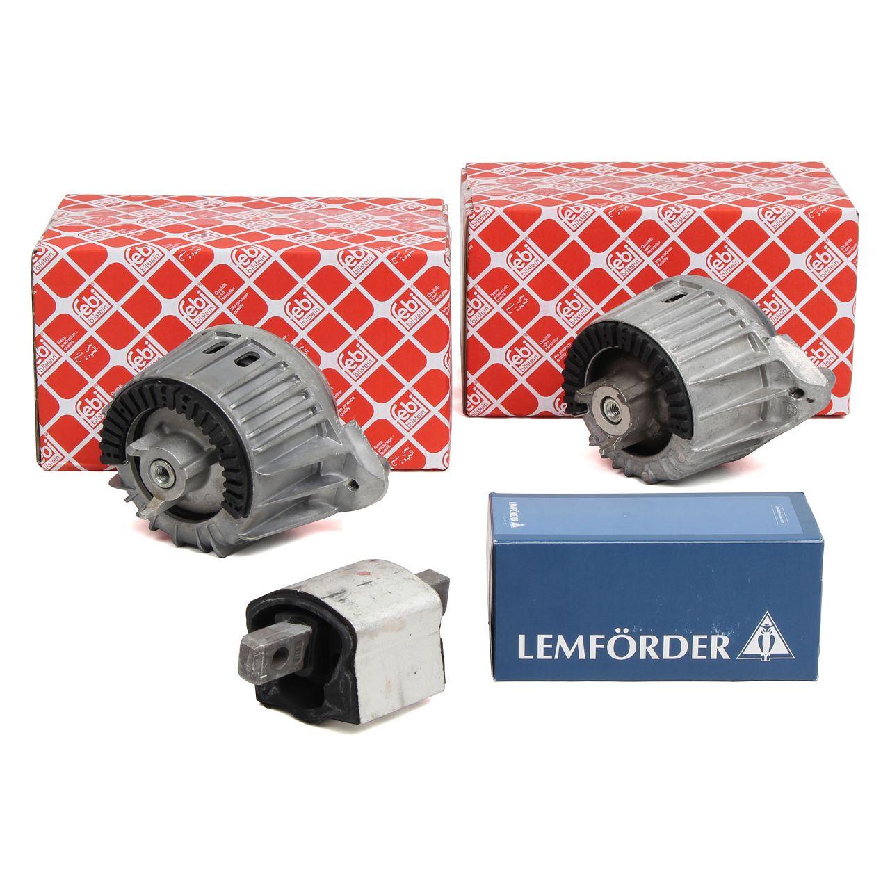 2x FEBI Motorlager + LEMFÖRDER Getriebelager MERCEDES W204 C218 X218 W212 OM646 OM651 CDI