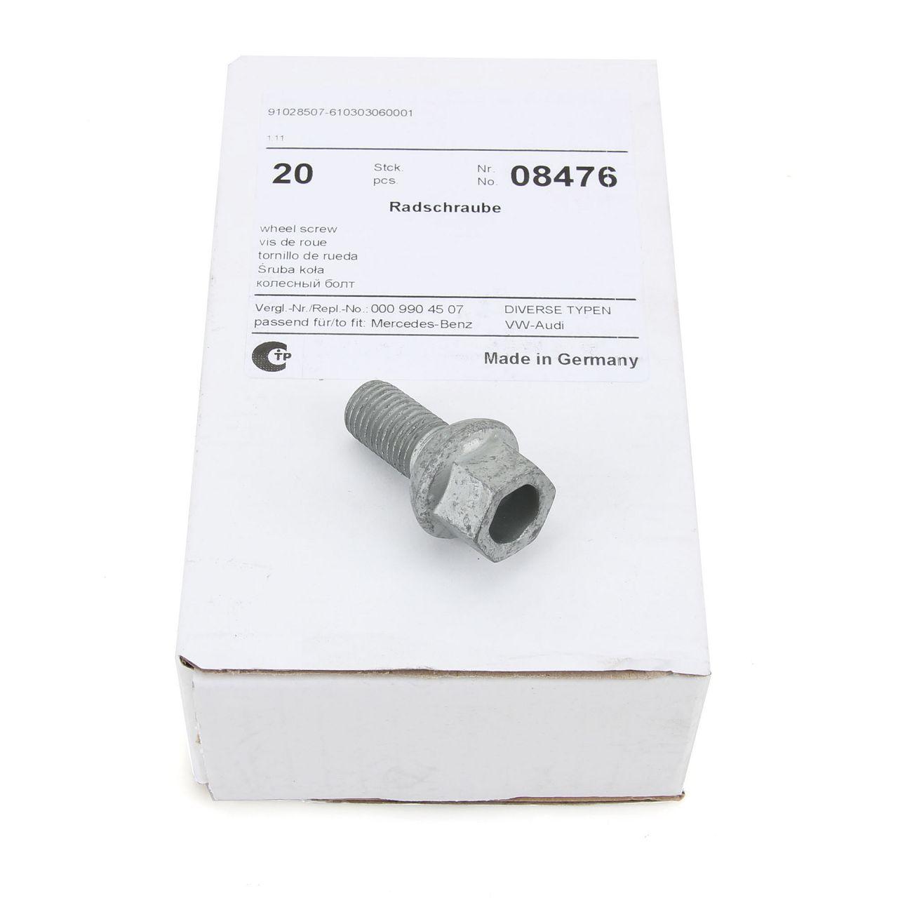 20x FEBI 08476 Radbolzen Radschrauben M12x1,5mm 19mm für AUDI MERCEDES-BENZ VW