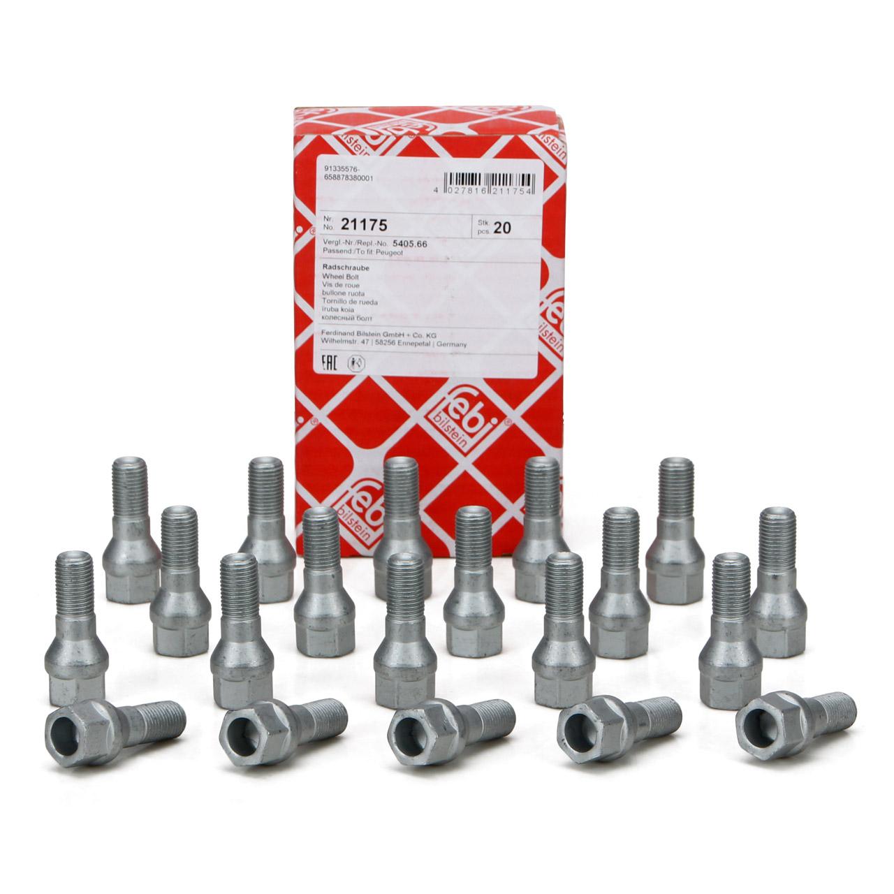 20x FEBI 21175 Radbolzen Radschrauben M12x1,25mm 47mm für CITROEN FIAT PEUGEOT