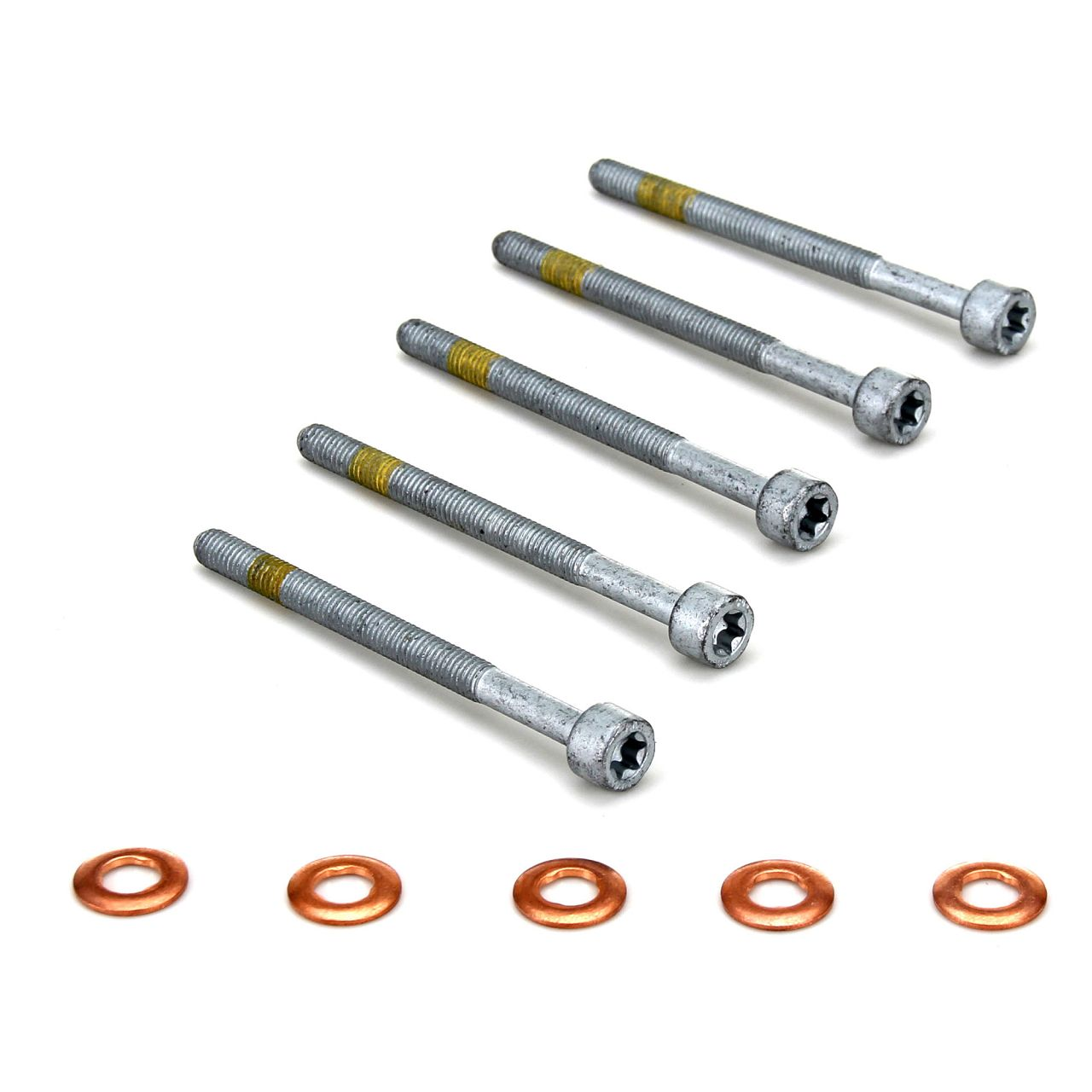 5x Zylinderschraube + Dichtringe für Einspritzdüse Injektor MERCEDES SMART CDI