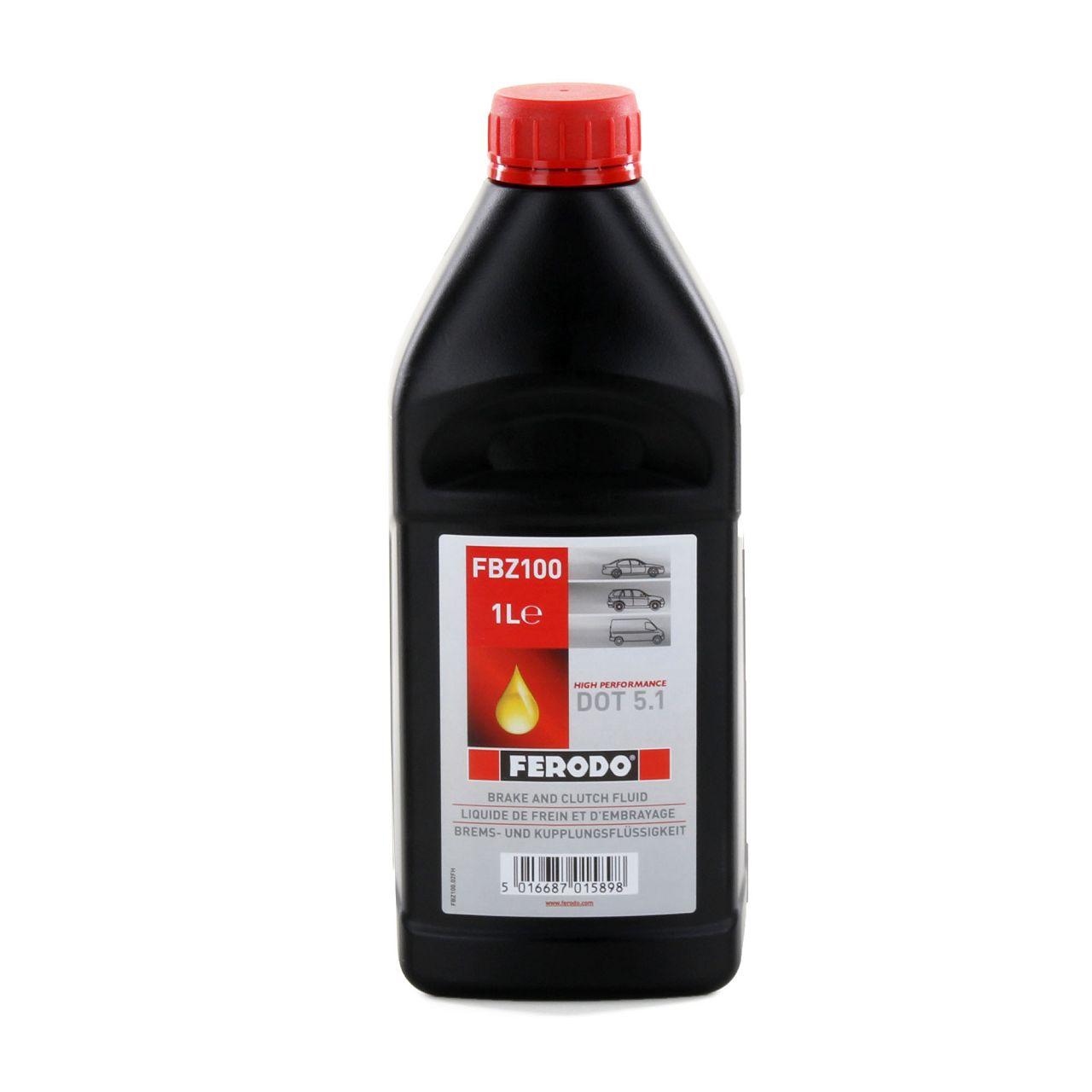 2x 1L 1 Liter FERODO FBZ100 Bremsflüssigkeit Kupplungsflüssigkeit DOT 5.1