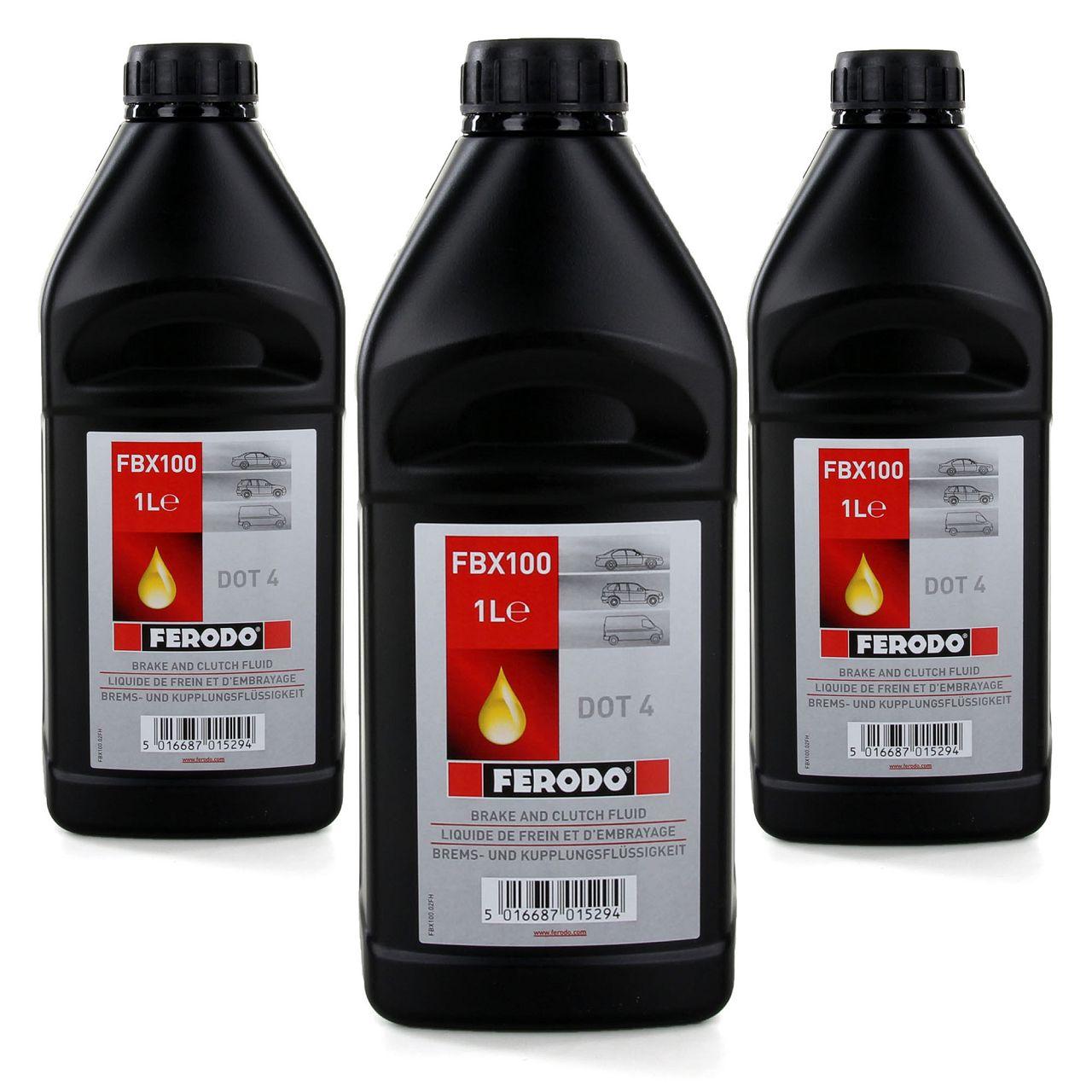3x 1 L 1 Liter FERODO FBX100 Bremsflüssigkeit Kupplungsflüssigkeit DOT 4