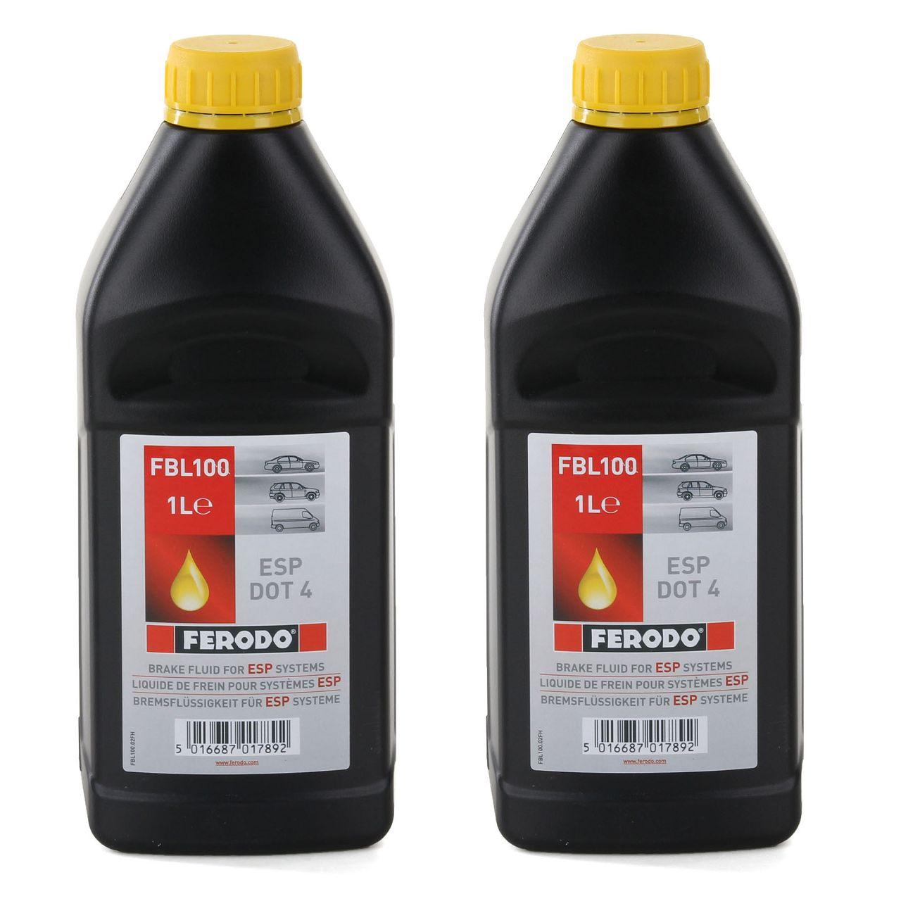 2x 1L 1 Liter FERODO FBL100 Bremsflüssigkeit für ESP Systeme DOT 4