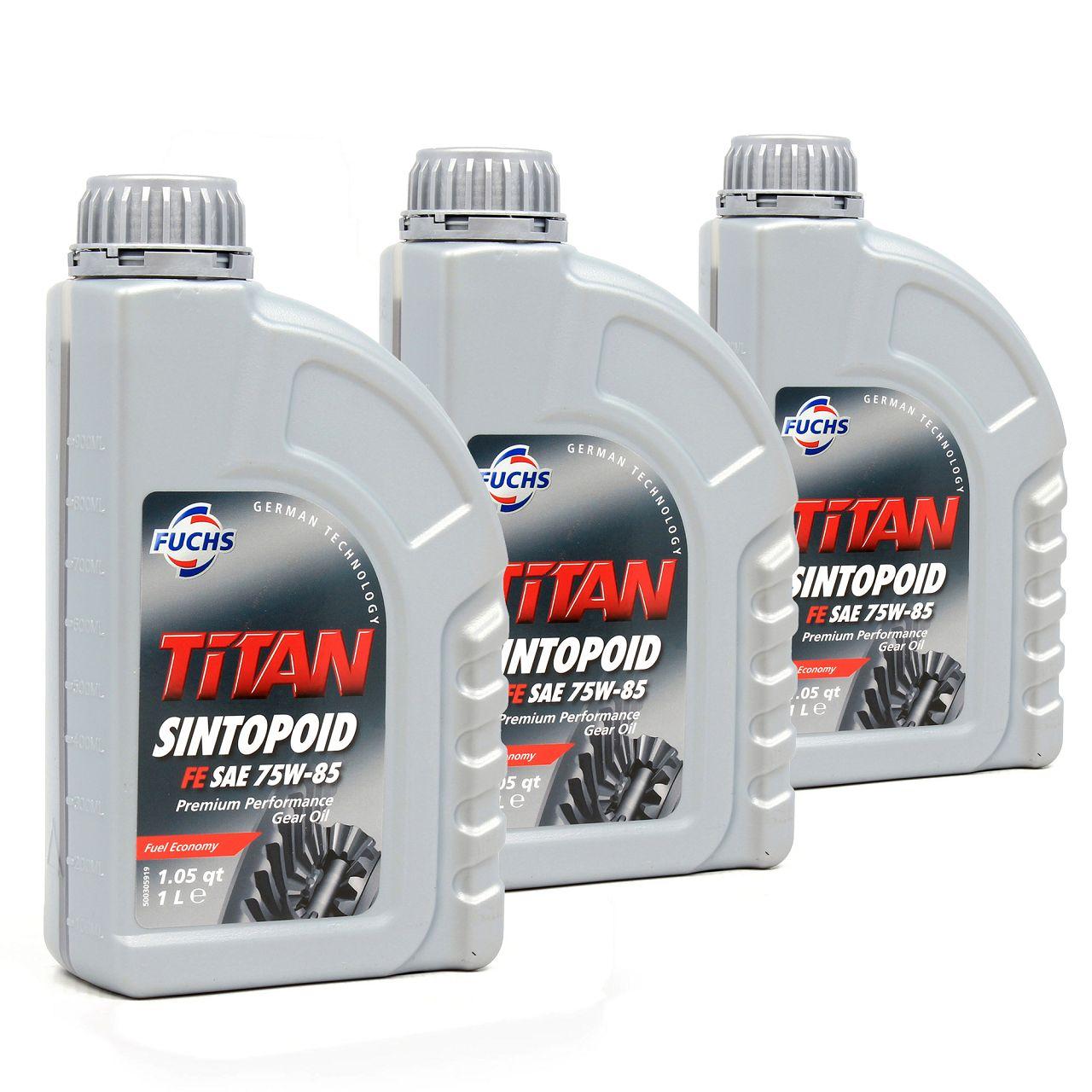 FUCHS Achsöl Achsgetriebeöl TITAN SINTOPOID FE SAE 75W-85 API GL-5 - 3 Liter