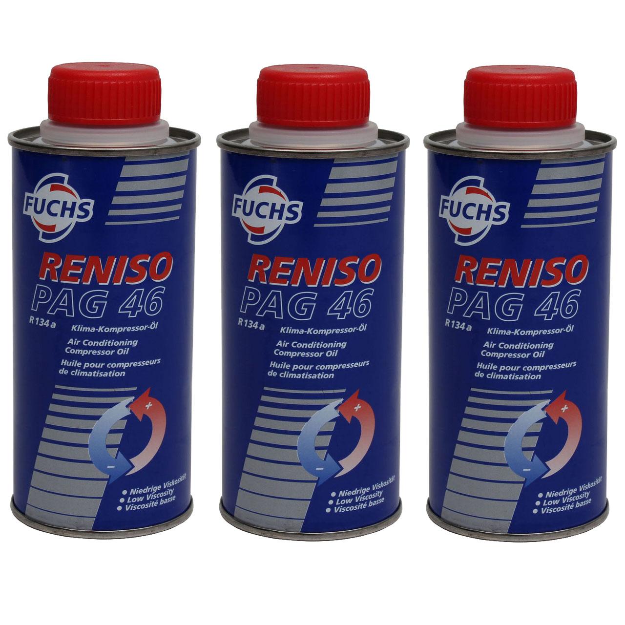 FUCHS RENISO Kompressor Öl Kompressoröl Klimaanlagenöl PAG 46 R134a 3x 250ml