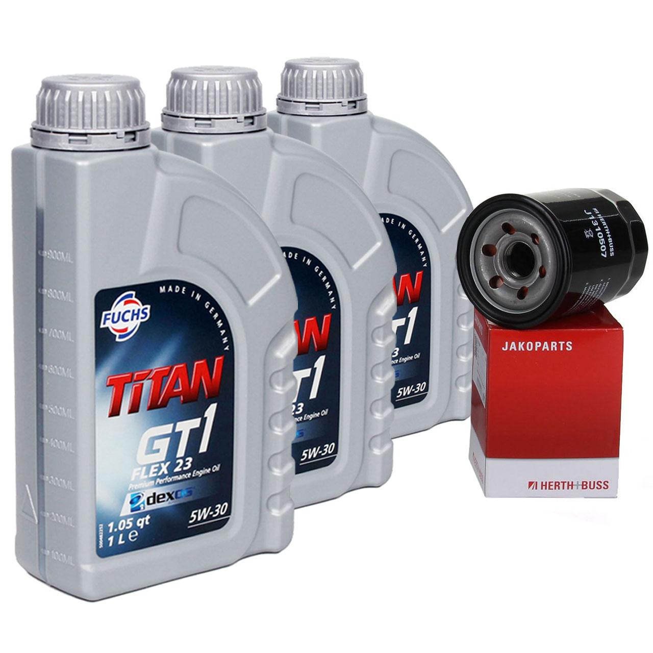 FUCHS MOTORÖL 5W30 3 L 3 Liter + HERTH+BUSS Ölfilter HYUNDAI Atos Getz i10 i20